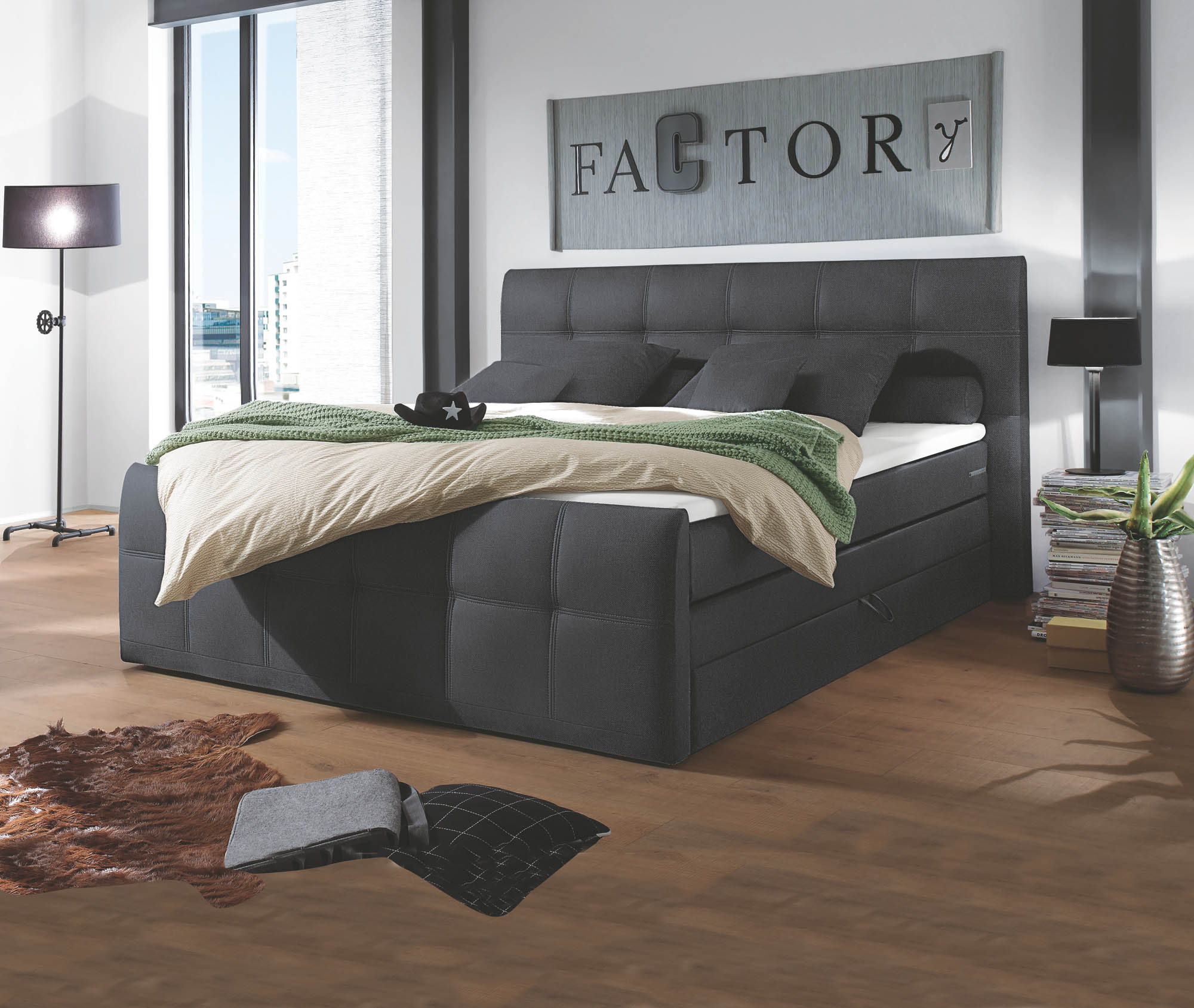 sacramento boxspringbett 180x200 inkl topper mit bettkasten. Black Bedroom Furniture Sets. Home Design Ideas