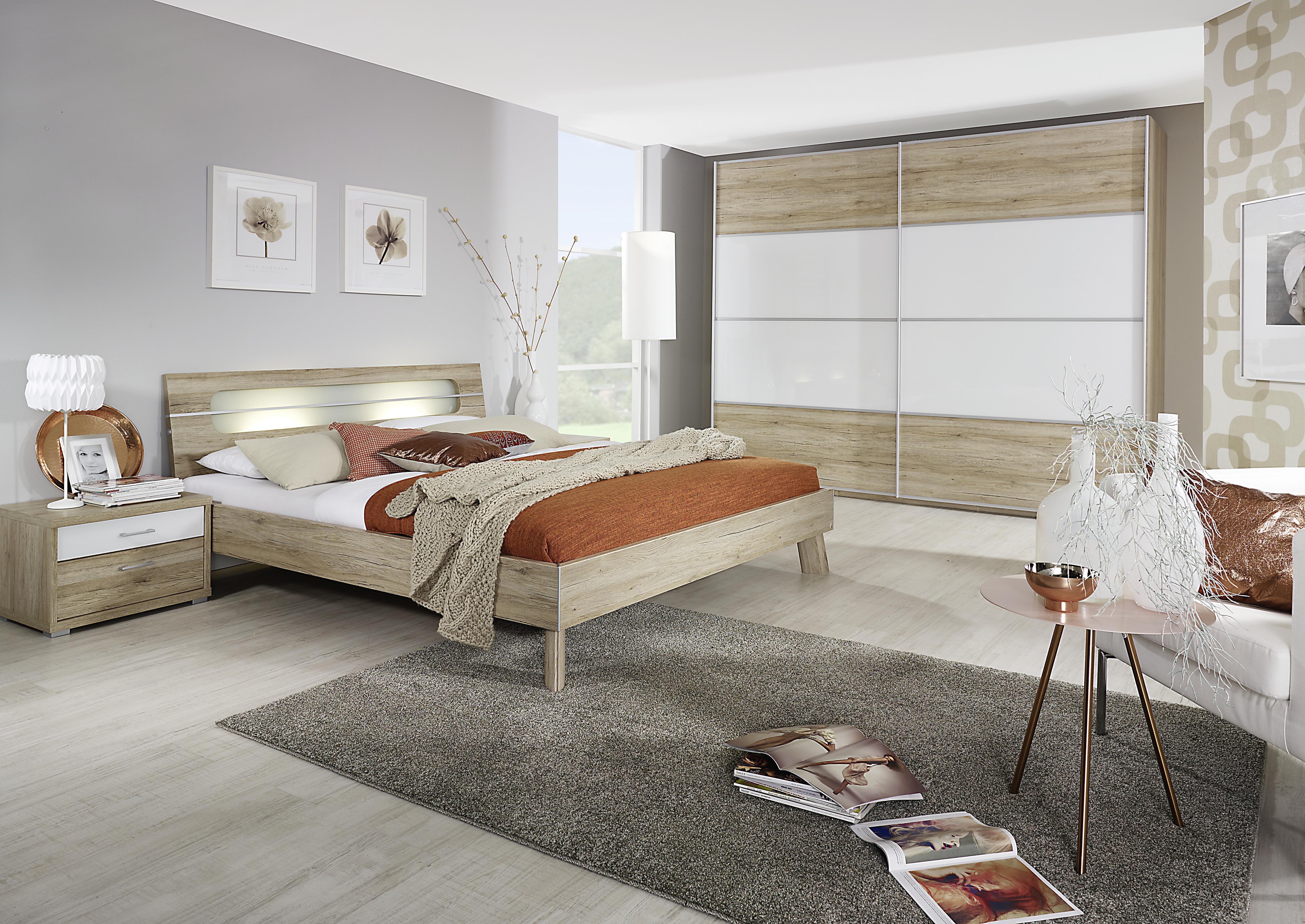 Schlafzimmer 3-tlg Plus2 KS ca. 226 cm u 160x200 Bett von Rauch Dialog Eiche Sanremo hell