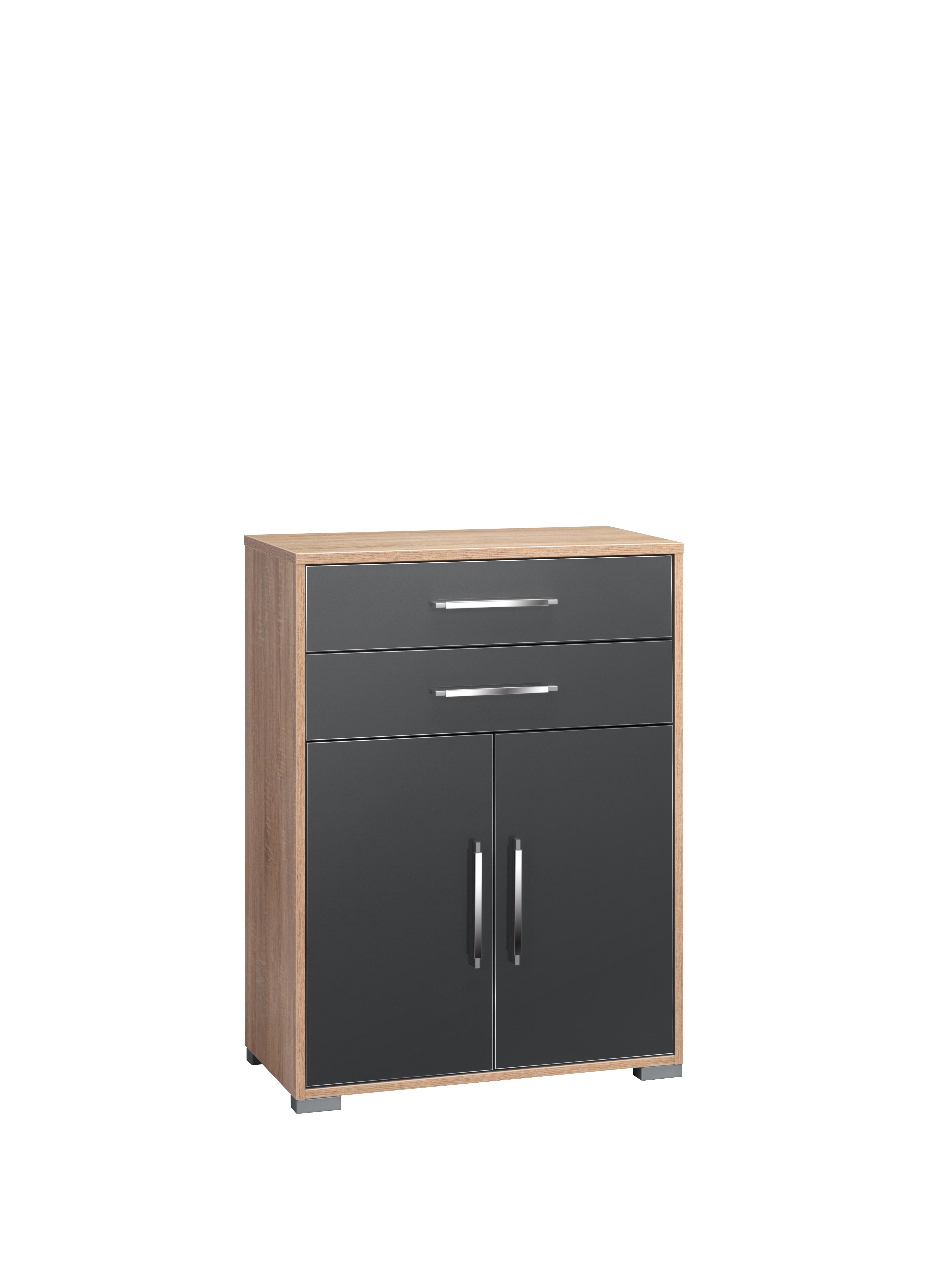 Aktenregal 2-trg 2 Schubladen SYSTEM-OFFICE von MAJA Sonoma Eiche / Grau Hgl