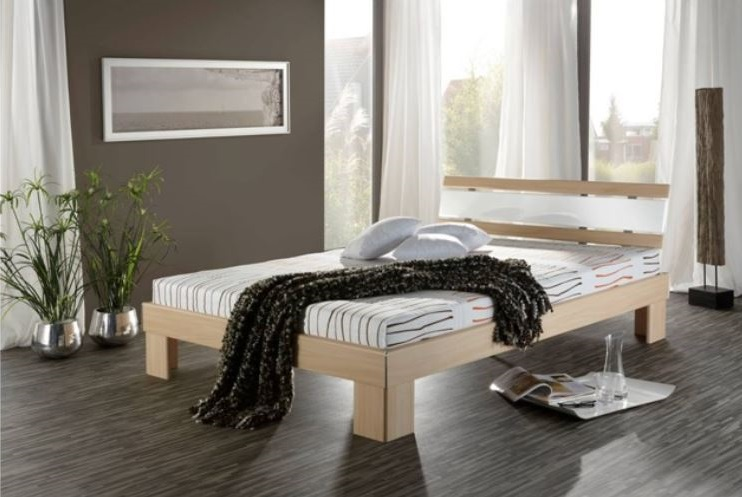140x200 futonbett rhone inkl rollrost und matratze eiche weiss hochglanz. Black Bedroom Furniture Sets. Home Design Ideas