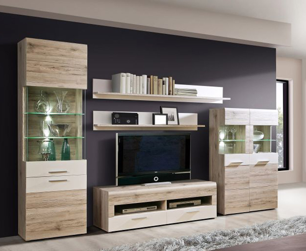 170978 wohnwand sandeiche weiss b h t 319 207 52. Black Bedroom Furniture Sets. Home Design Ideas