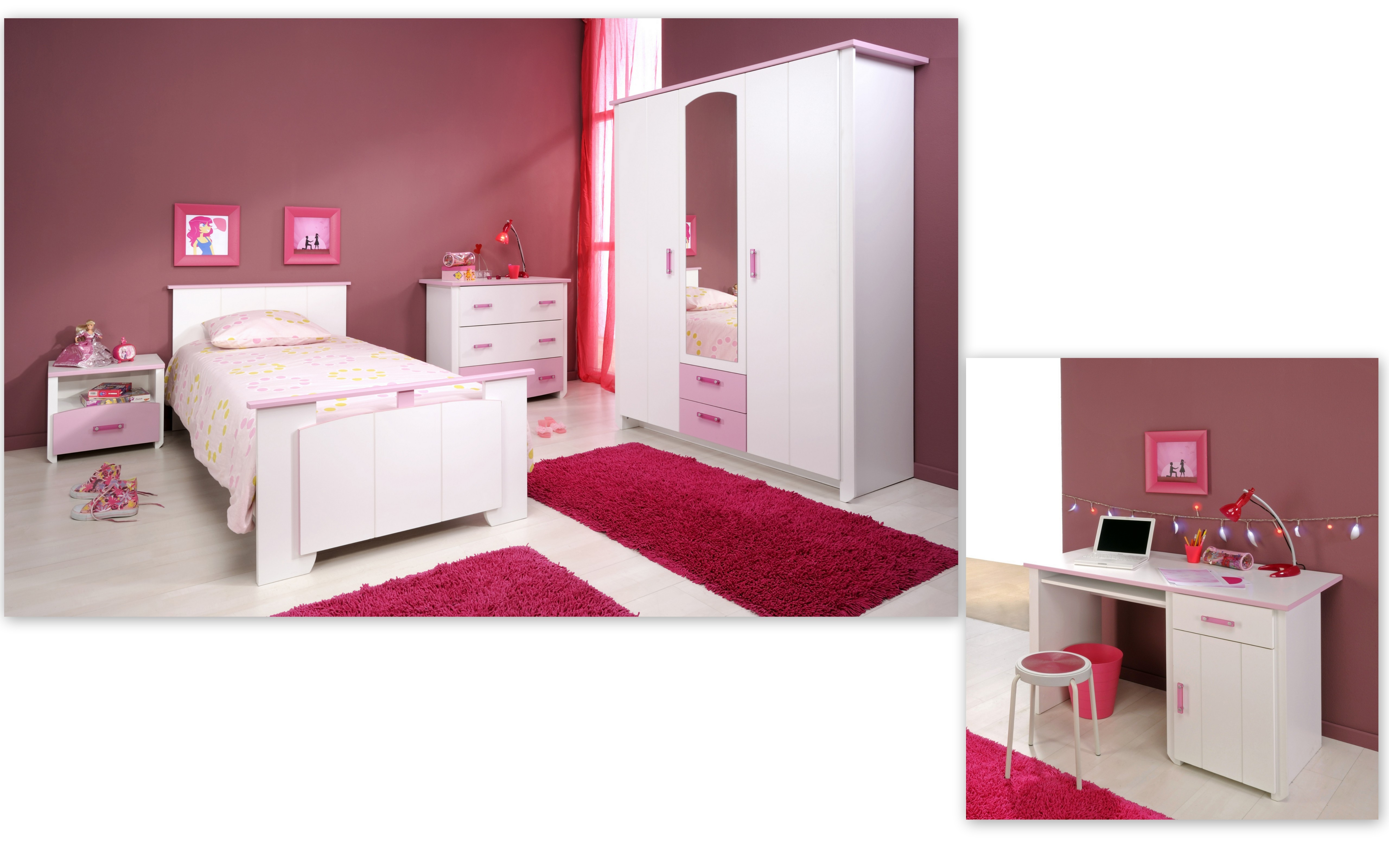 schlafzimmer 5 tlg inkl 90x200 bett u kleiderschrank 3 trg biotiful 13 von parisot weiss rosa. Black Bedroom Furniture Sets. Home Design Ideas