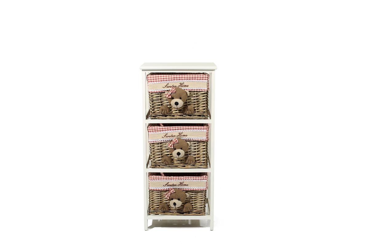 Korbschrank Teddy 205 Weiß / Braun von Kayoom