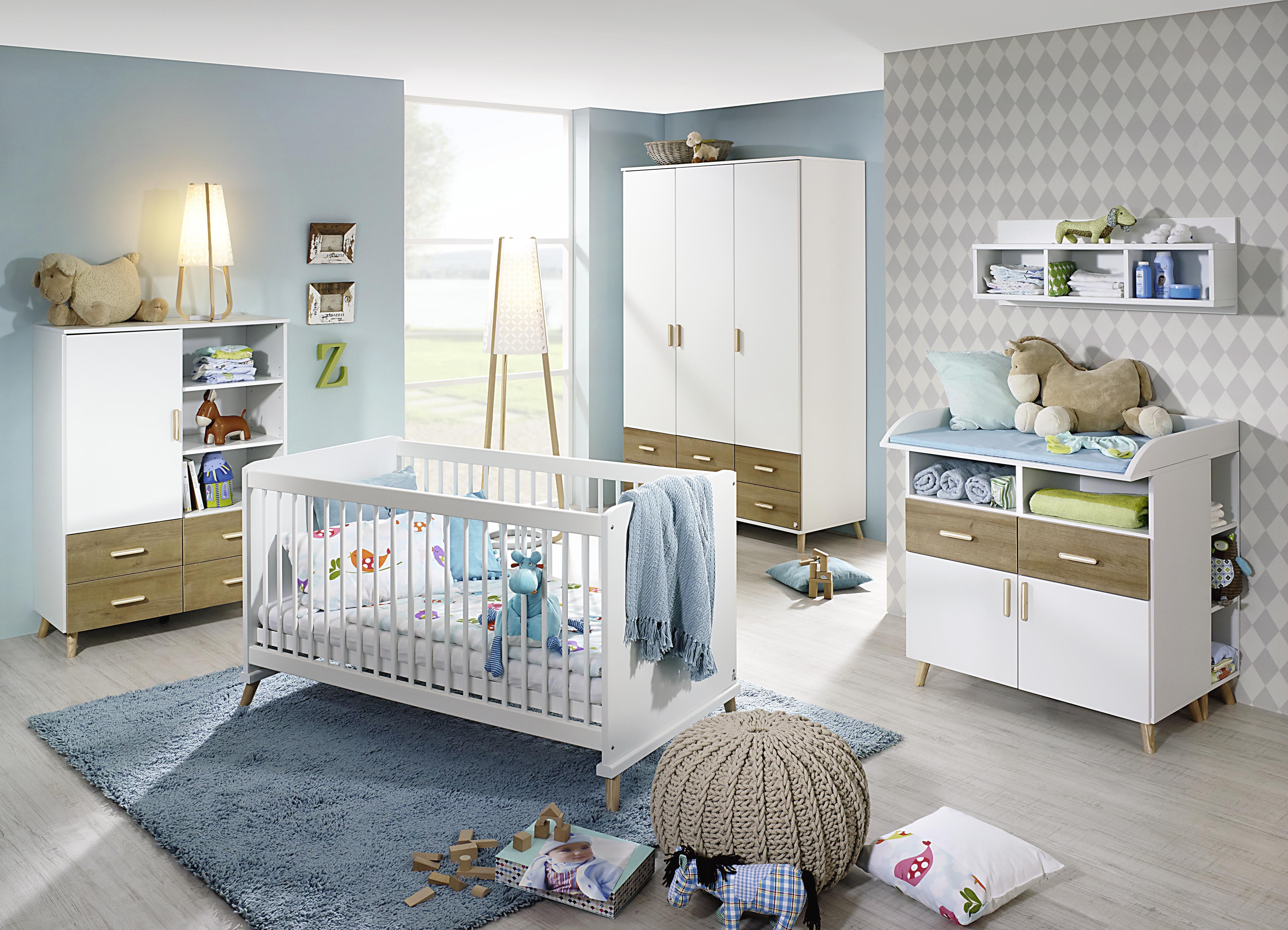 Babyzimmer 3-tlg Mieke mit KS 3-trg Alpinweiß / Eiche Riviera