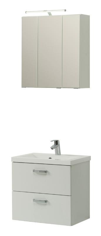 Waschtisch-Set 60 inkl 3D Spielgelschrank u Beleuchtung Montreal von Held Möbel Weiß
