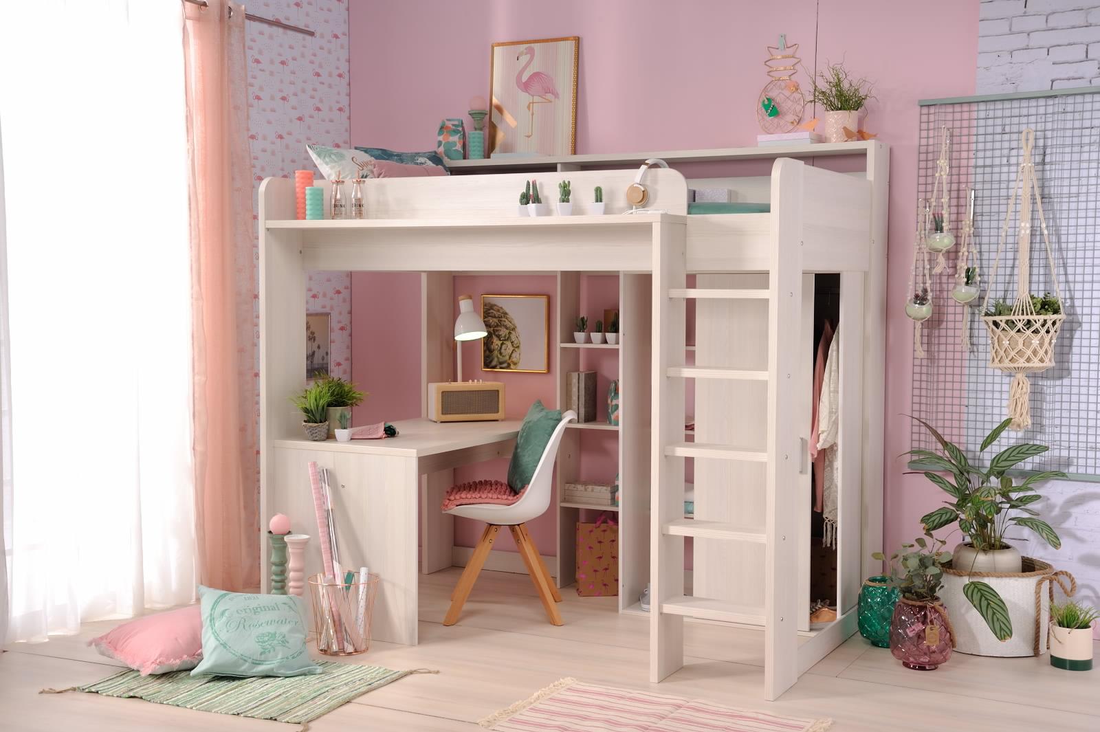 Etagenbett Mit Schrank Und Schreibtisch : 90x200 hochbett inkl integrierter schreibtisch u schrank higher 1a