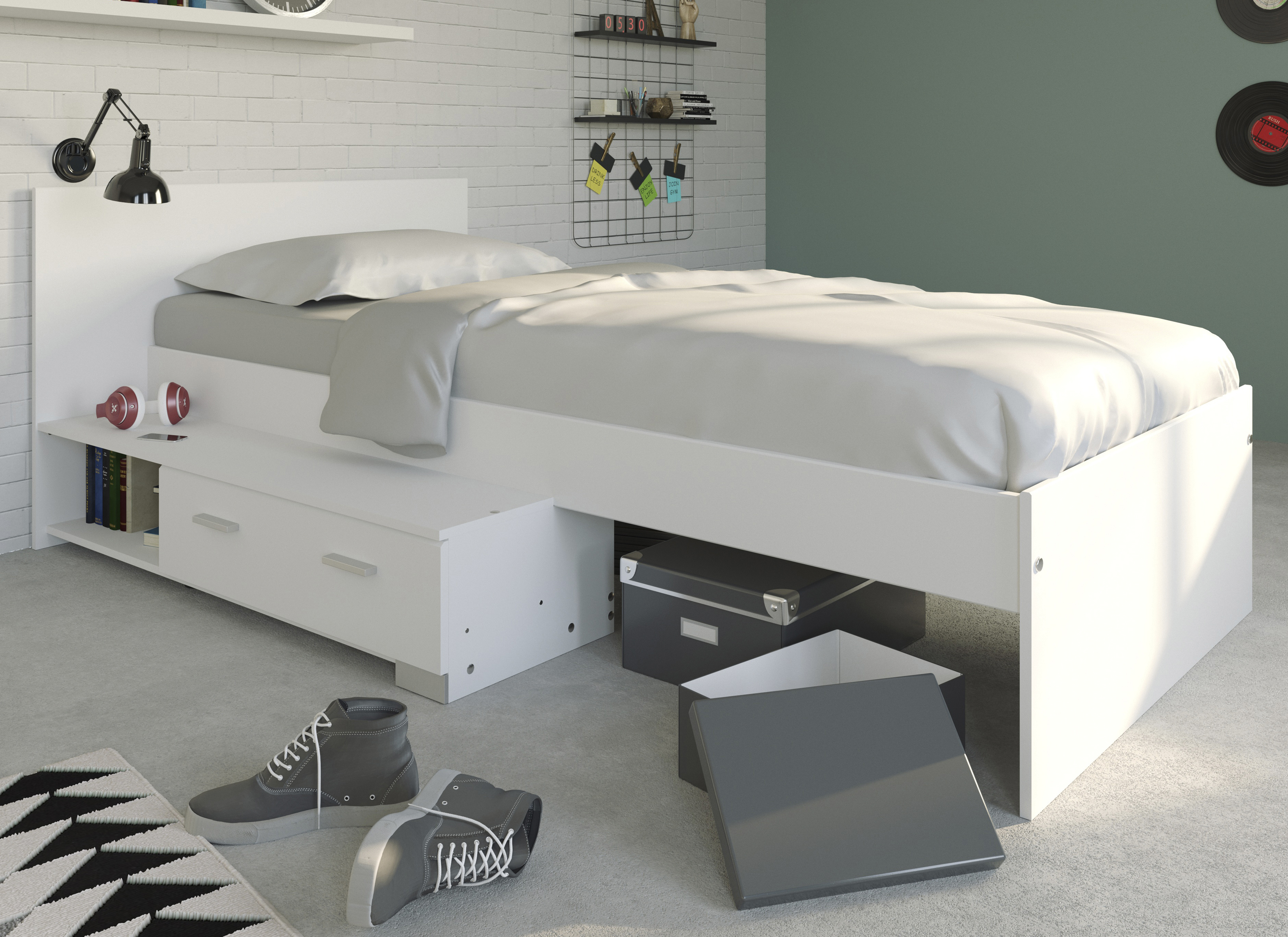 90x200 stauraumbett jungs galaxy 16b von parisot weiss. Black Bedroom Furniture Sets. Home Design Ideas