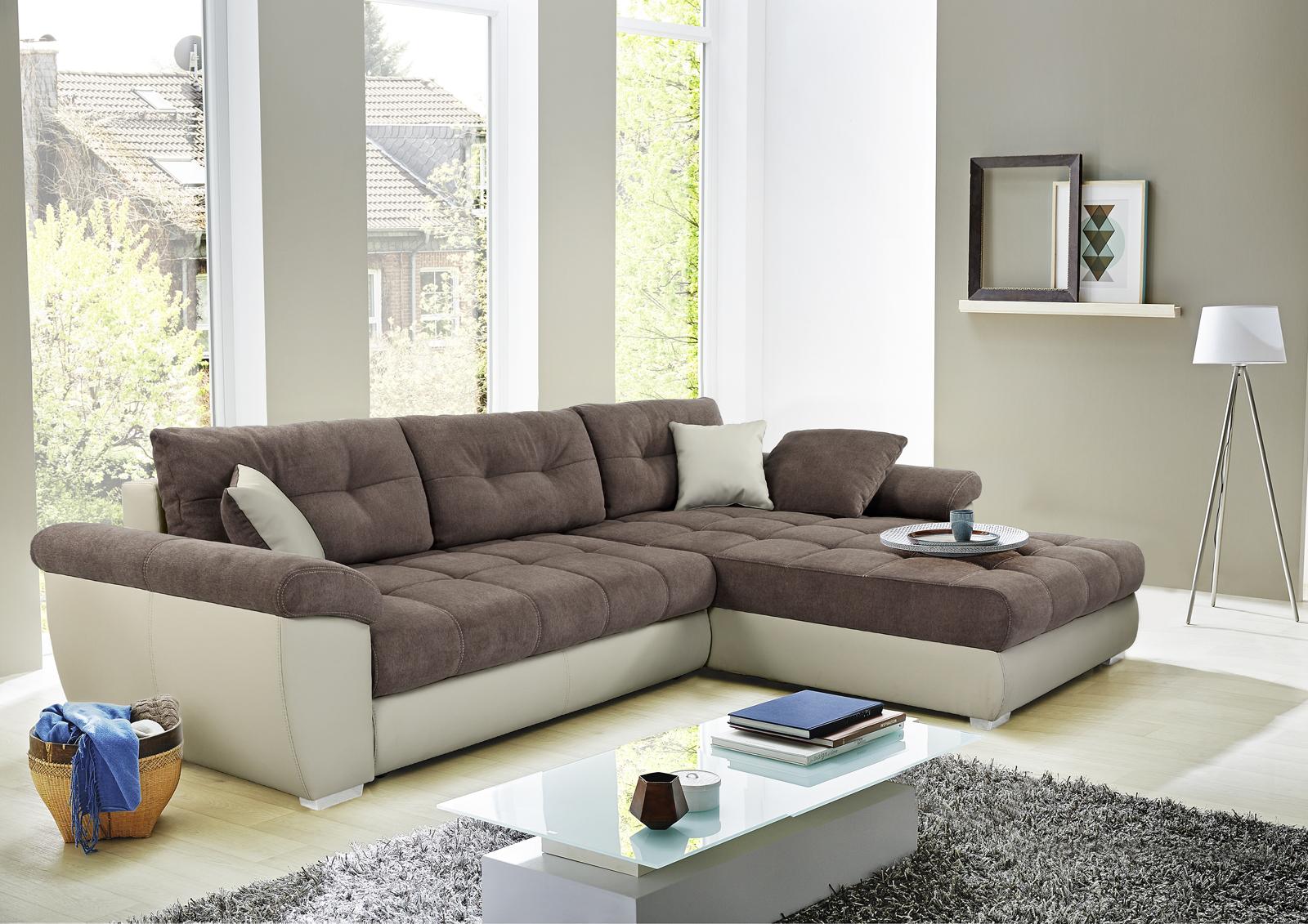 wohnlandschaft inkl bettkasten u g stebett amalfi von job greige braun. Black Bedroom Furniture Sets. Home Design Ideas