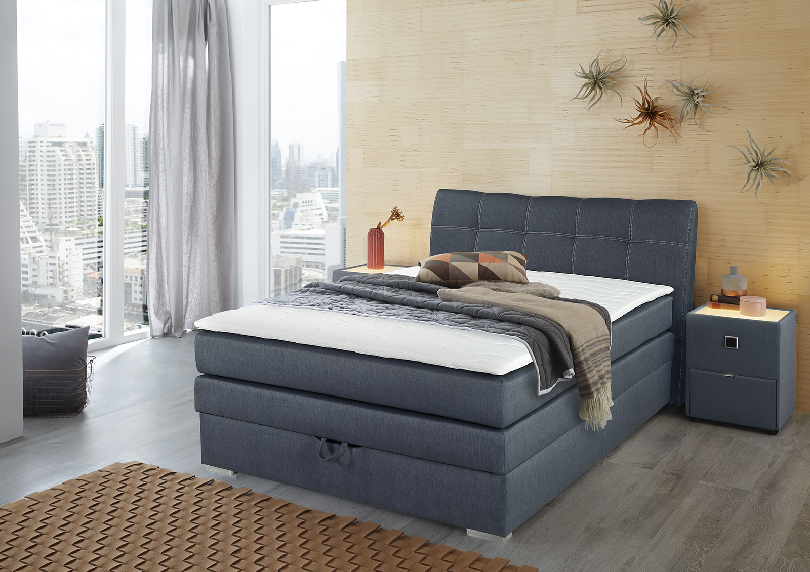 amelie boxspringbett 140x200 inkl bettkasten u topper bonell blau by ebay. Black Bedroom Furniture Sets. Home Design Ideas