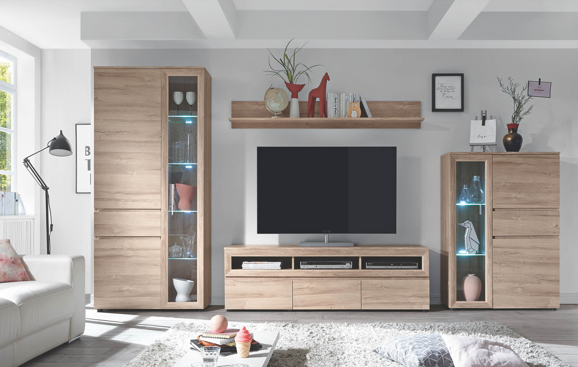 Wohnwand 4-tlg inkl Beleuchtung Andalusien von HBZ Grandson Oak