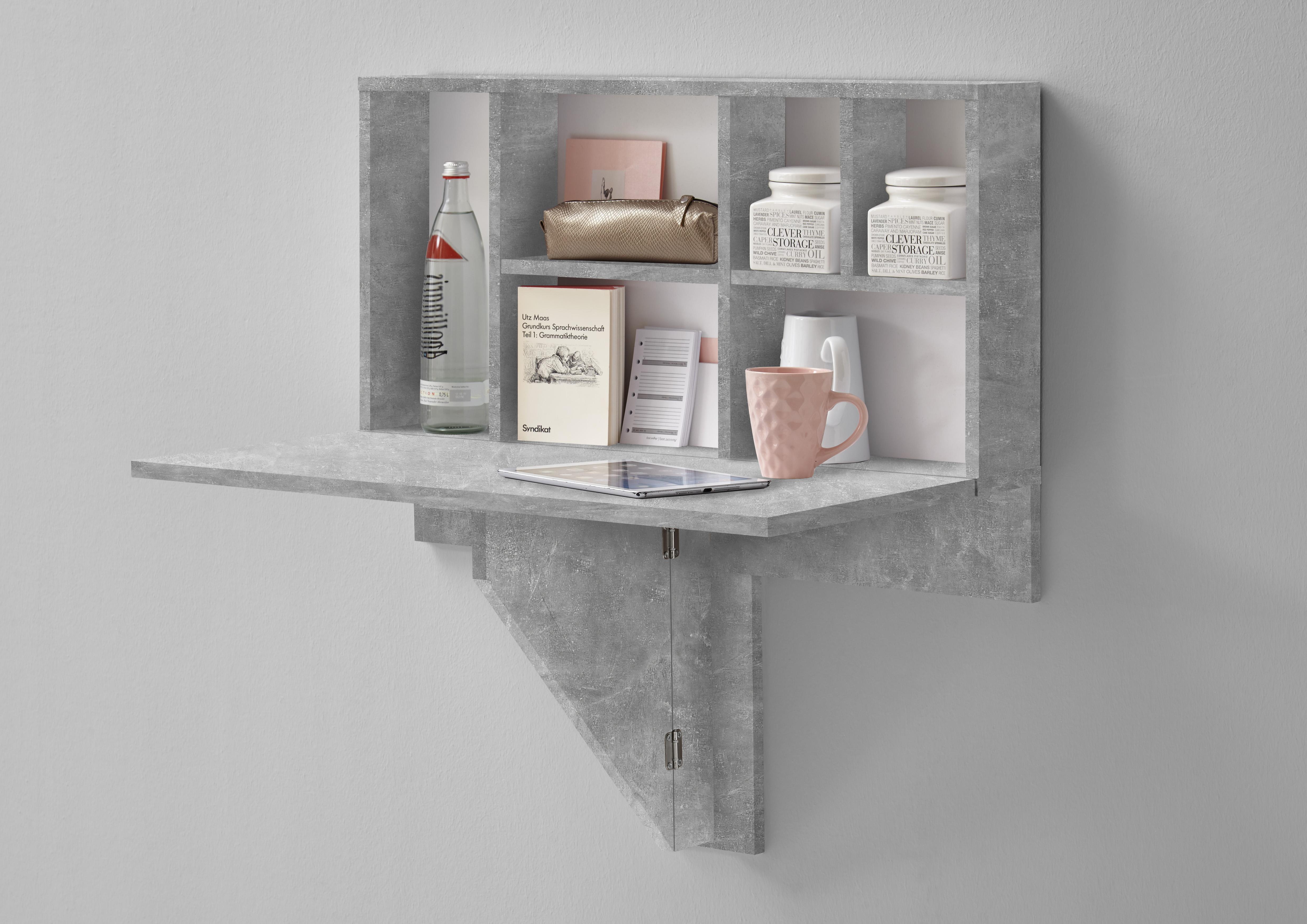 arta 2 klapptisch inkl regal von fmd beton weiss. Black Bedroom Furniture Sets. Home Design Ideas