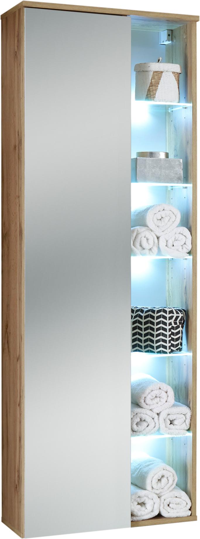 Bad Hängeschrank inkl LED Beleuchtung und Spiegel re./li. montierbar BEST  von Bega Wildeiche