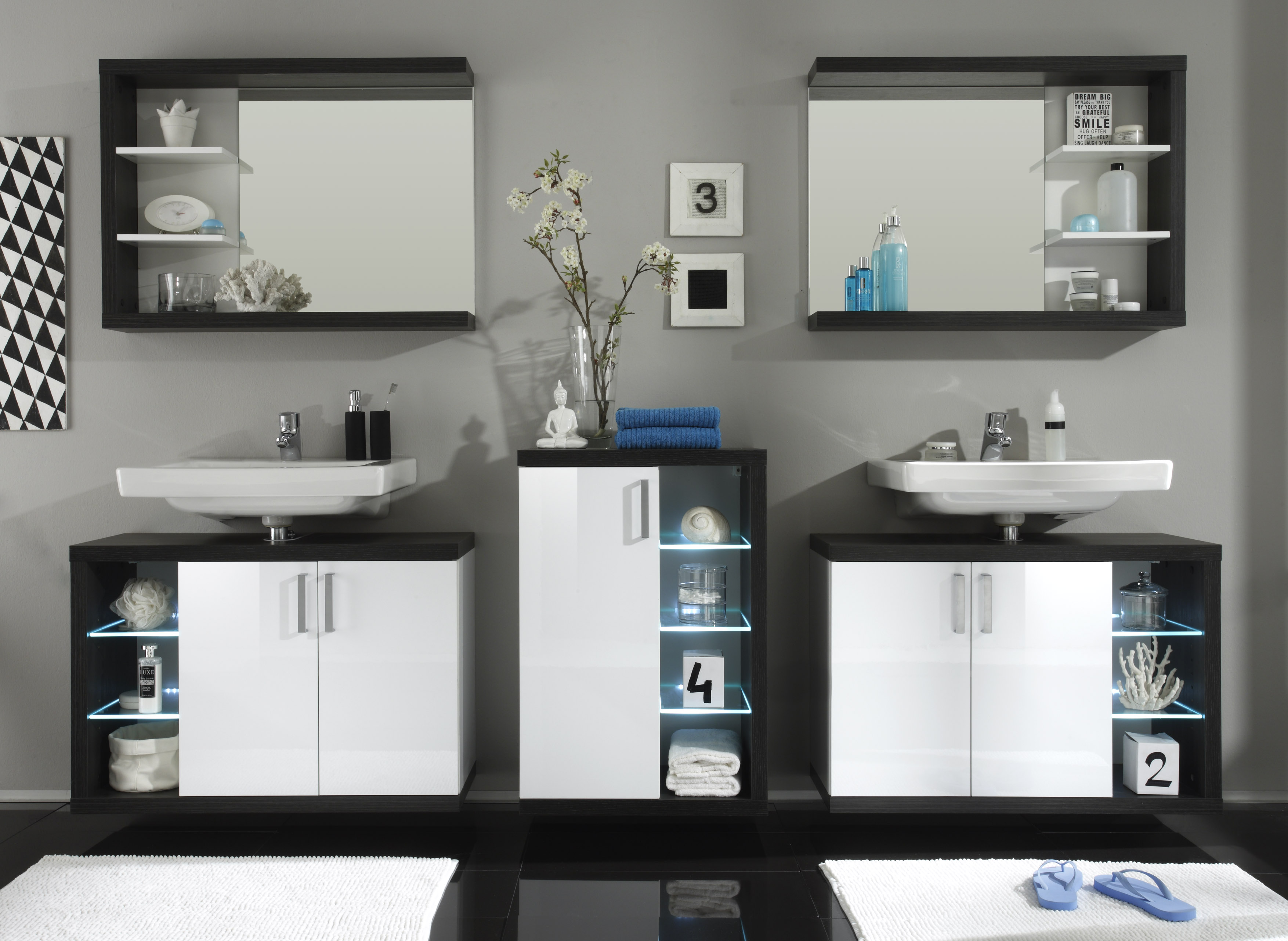 badezimmer komplett rauchsilber weiss hg. Black Bedroom Furniture Sets. Home Design Ideas