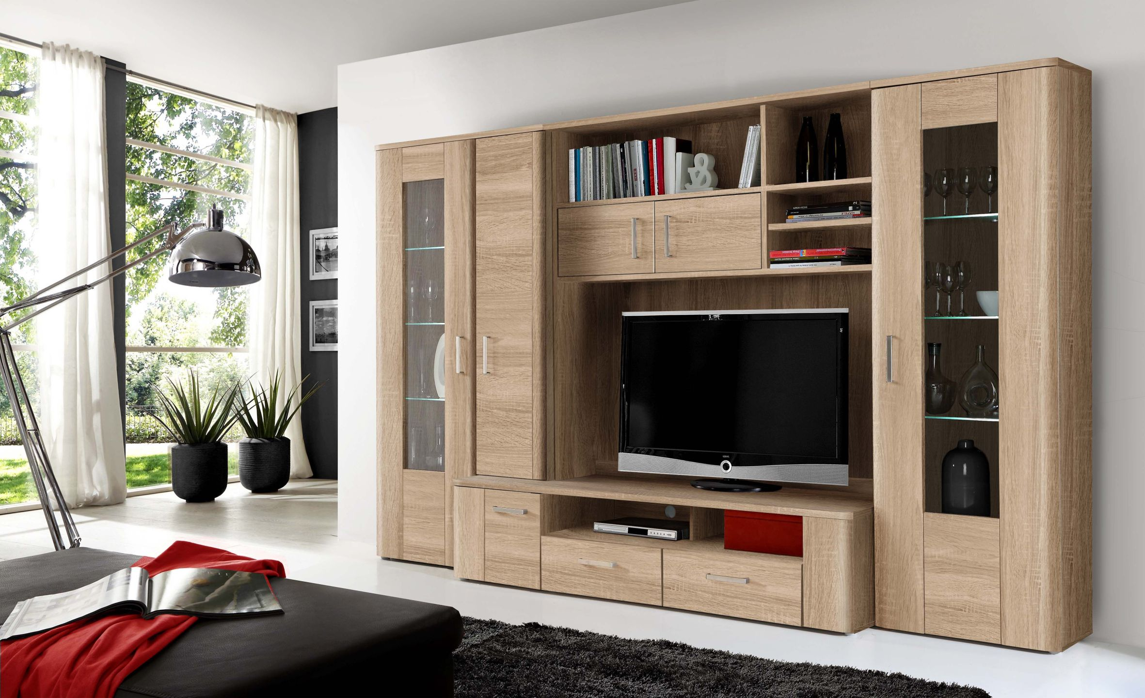 mediacenter wohnwand inkl led beleuchtung belmondo von forte sonoma eiche. Black Bedroom Furniture Sets. Home Design Ideas