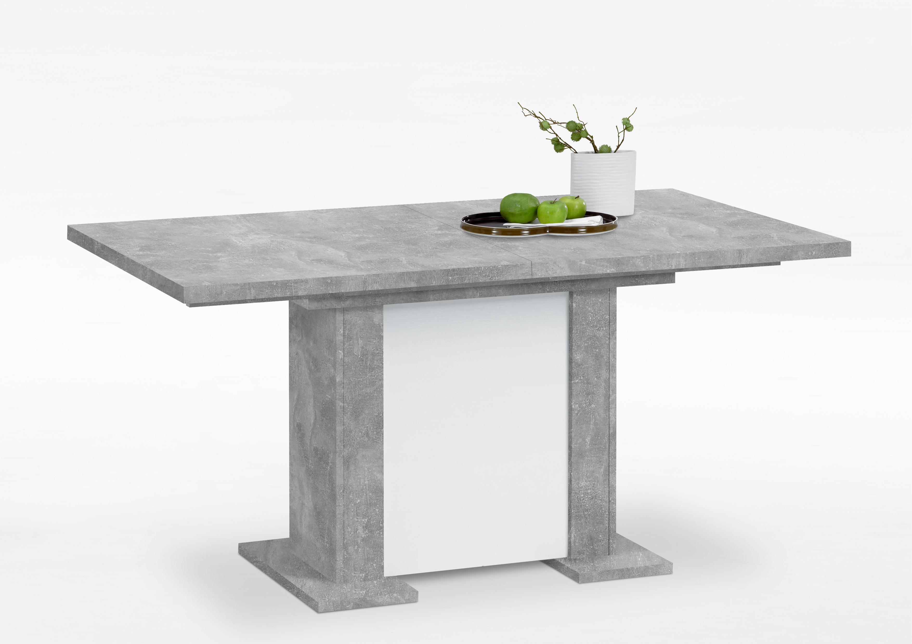 berck esstisch ausziehbar 160 195 230 cm breit von fmd beton weiss. Black Bedroom Furniture Sets. Home Design Ideas