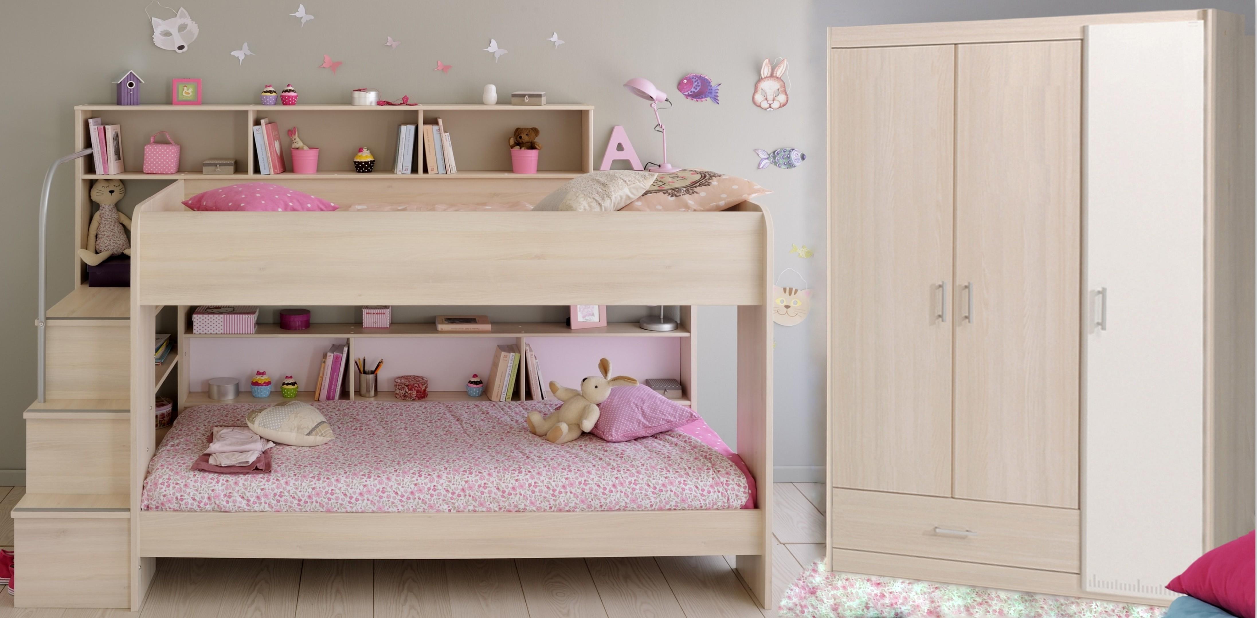 Schlafzimmer Set 2-tlg. inkl 90x200 Etagenbett u Kleiderschrank 3-trg Bibop 44 von Parisot Akazie / Weiß