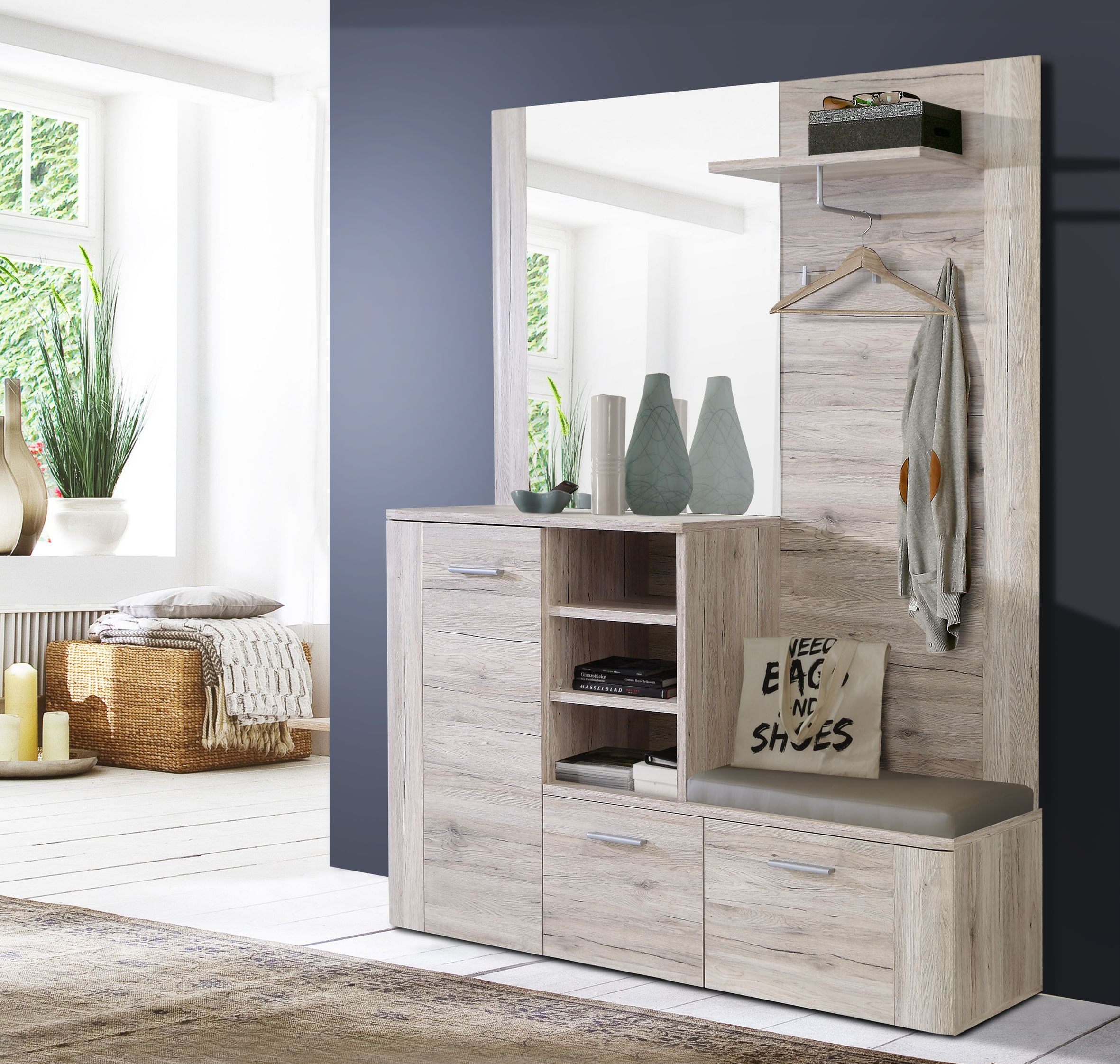 garderobe kompakt big bang von forte sandeiche. Black Bedroom Furniture Sets. Home Design Ideas