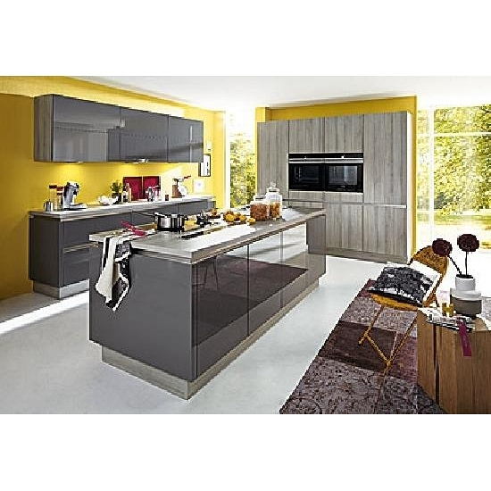 luxuriöse inselküche dunkelgrau glänzend/esche molina grau inkl, Modernes haus