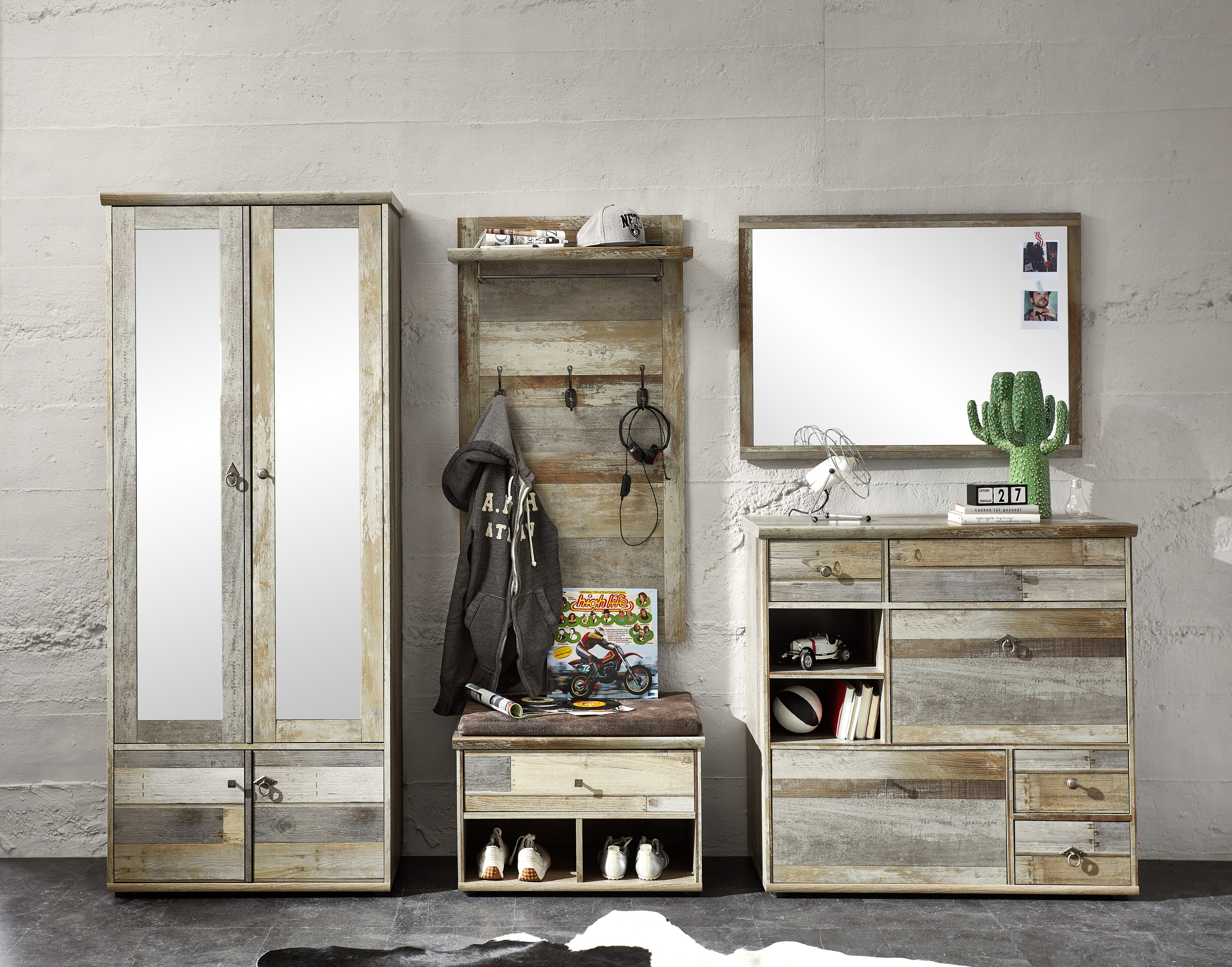 garderobe 5 tlg bonanza von innostyle driftwood vintagelook dekor. Black Bedroom Furniture Sets. Home Design Ideas