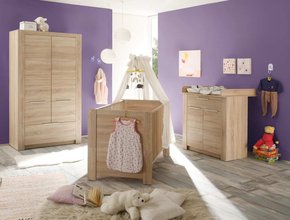 babyzimmerm bel carlotta von trendteam eiche s gerau hell. Black Bedroom Furniture Sets. Home Design Ideas
