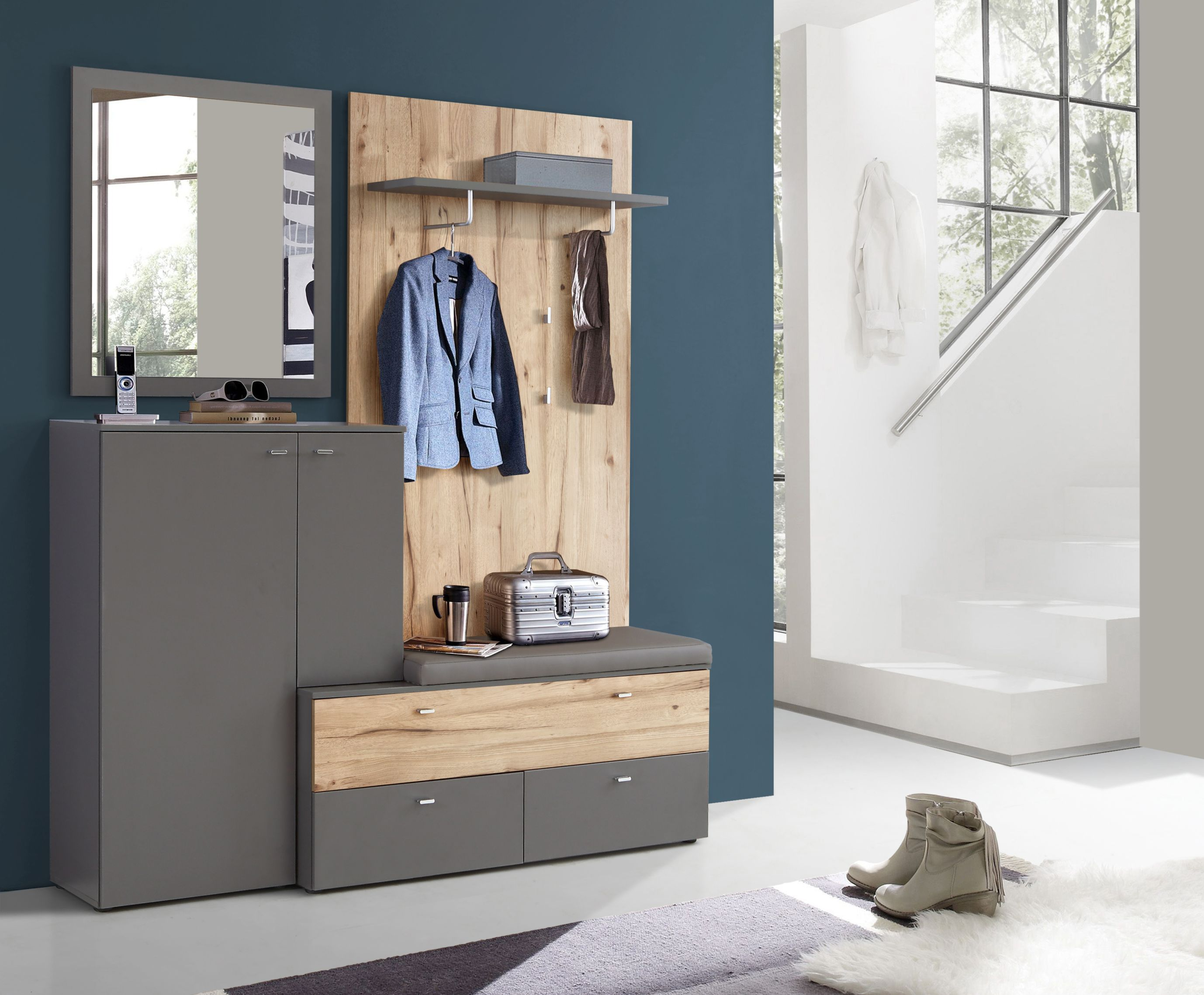 garderobe kompakt como von forte wolfram grau planked eiche. Black Bedroom Furniture Sets. Home Design Ideas