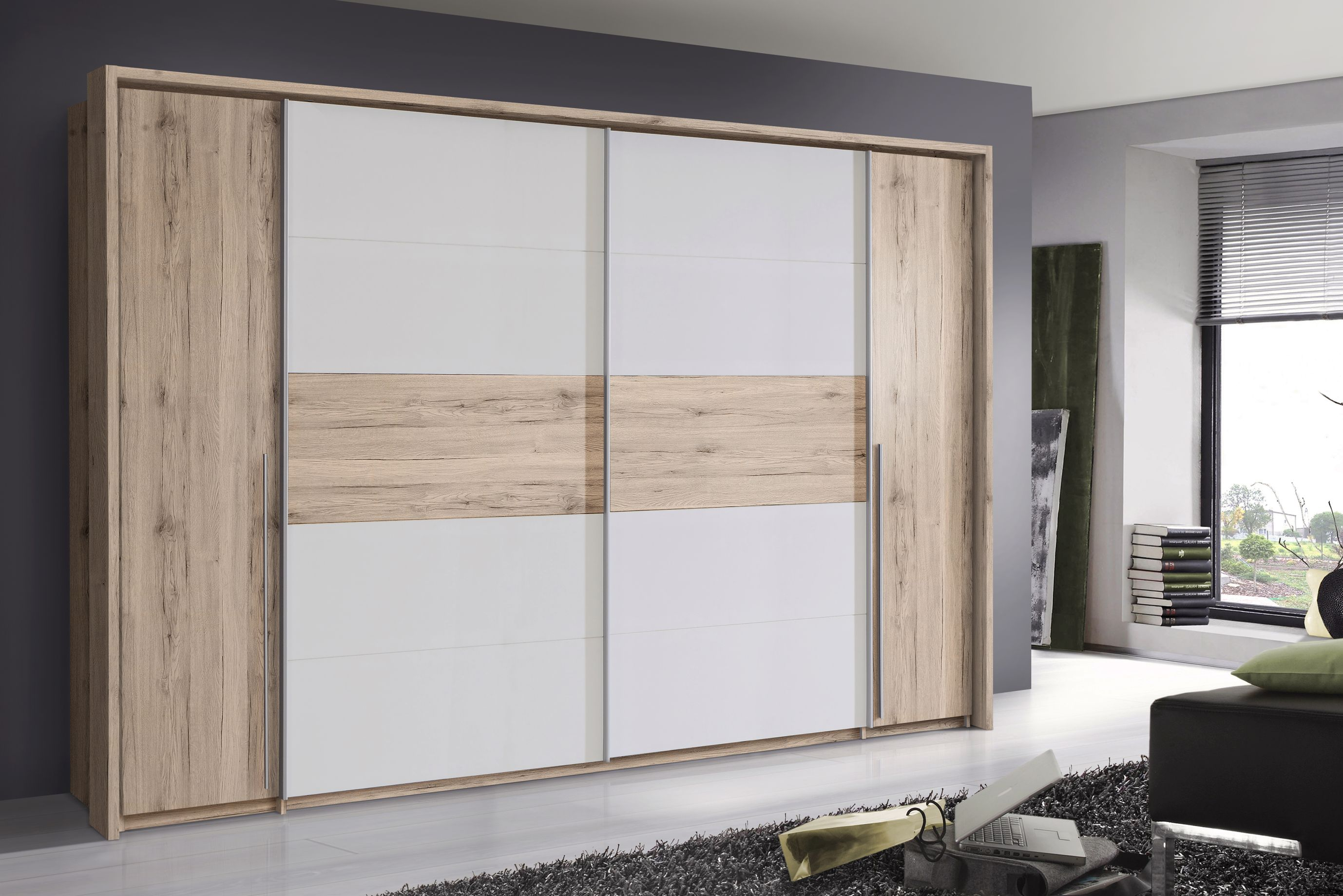 Kleiderschrank 4-trg Cool von Forte Sandeiche Dunkel / Weiss