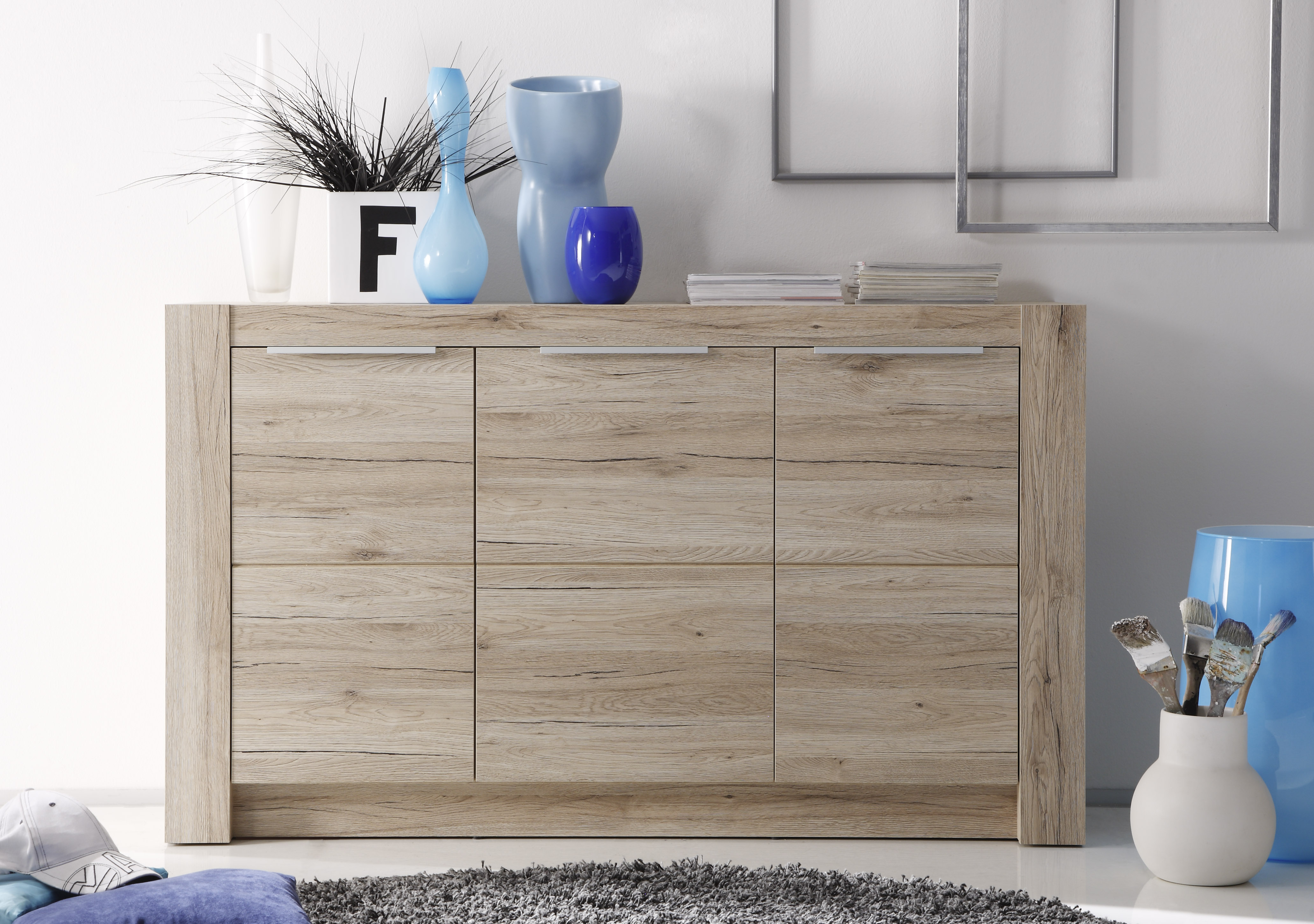 sideboard cougar von trendteam eiche san remo hell. Black Bedroom Furniture Sets. Home Design Ideas