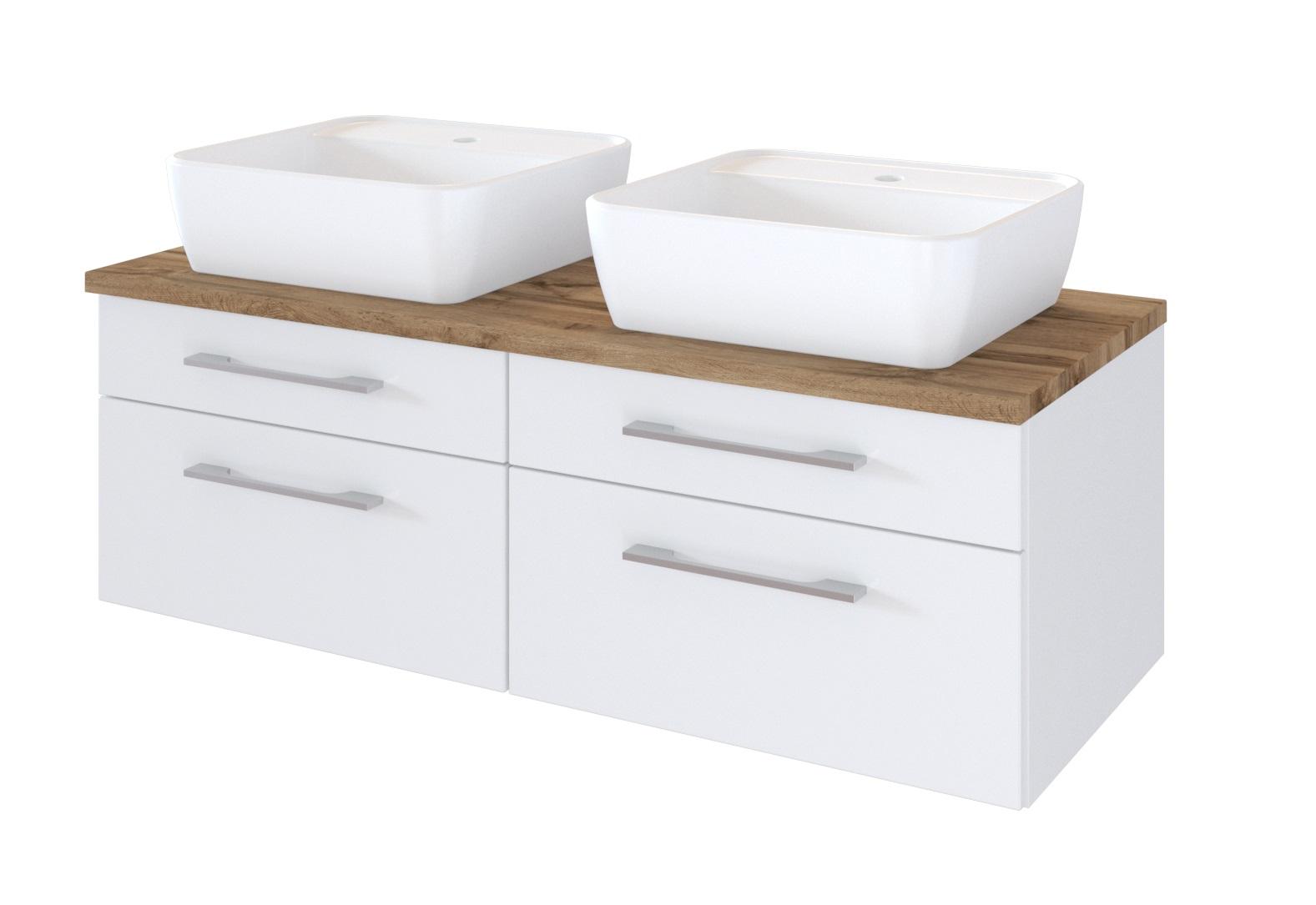 Davos Doppelwaschtisch 120 Inkl Keramik Aufsatzbecken Weiß Wohnorama