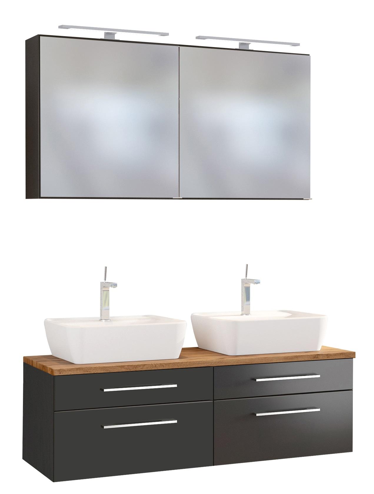 Davos Doppelwaschtisch Set 120 Spiegelschrank In Grau Wohnorama