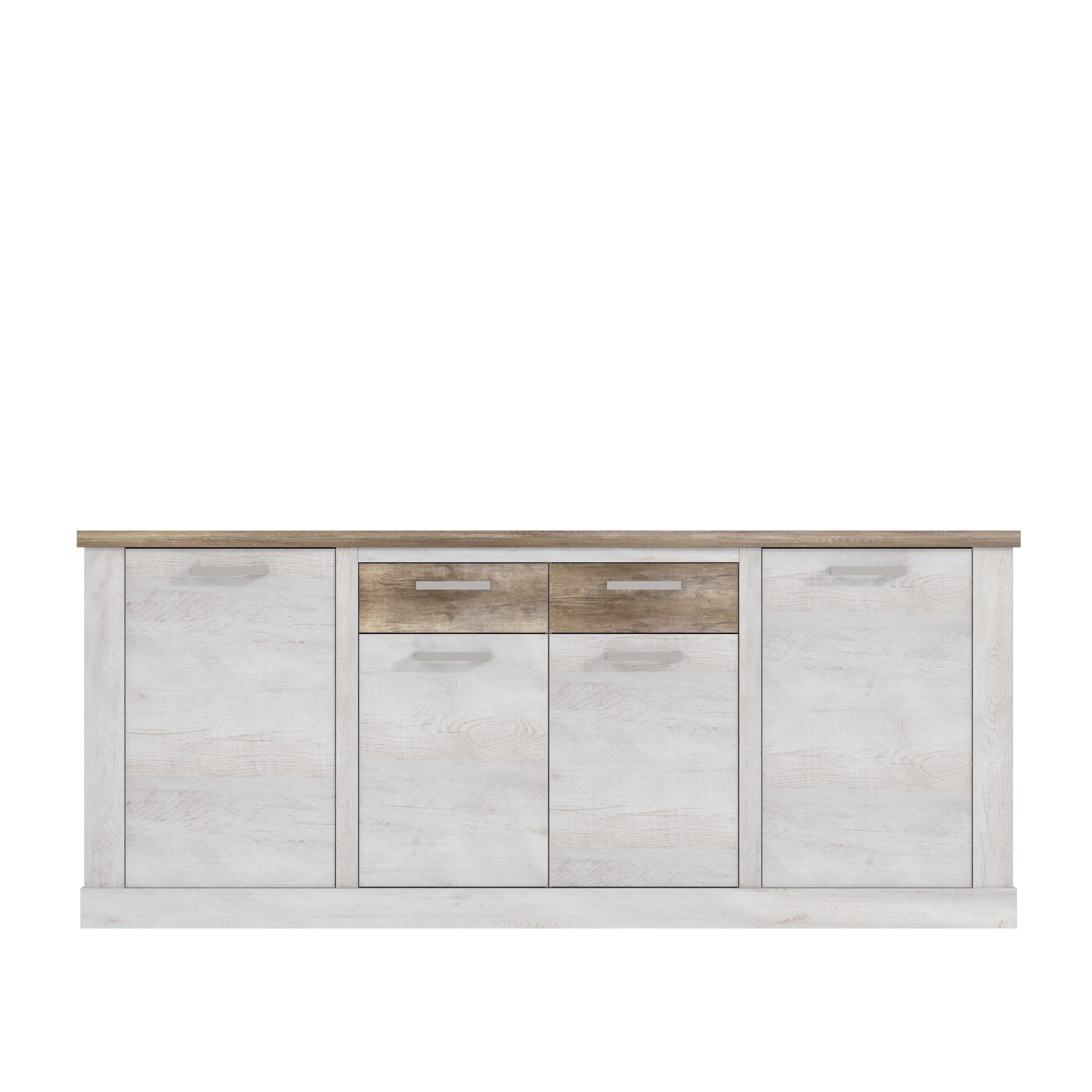 sideboard 4 trg duro von forte pinia wei eiche antik. Black Bedroom Furniture Sets. Home Design Ideas