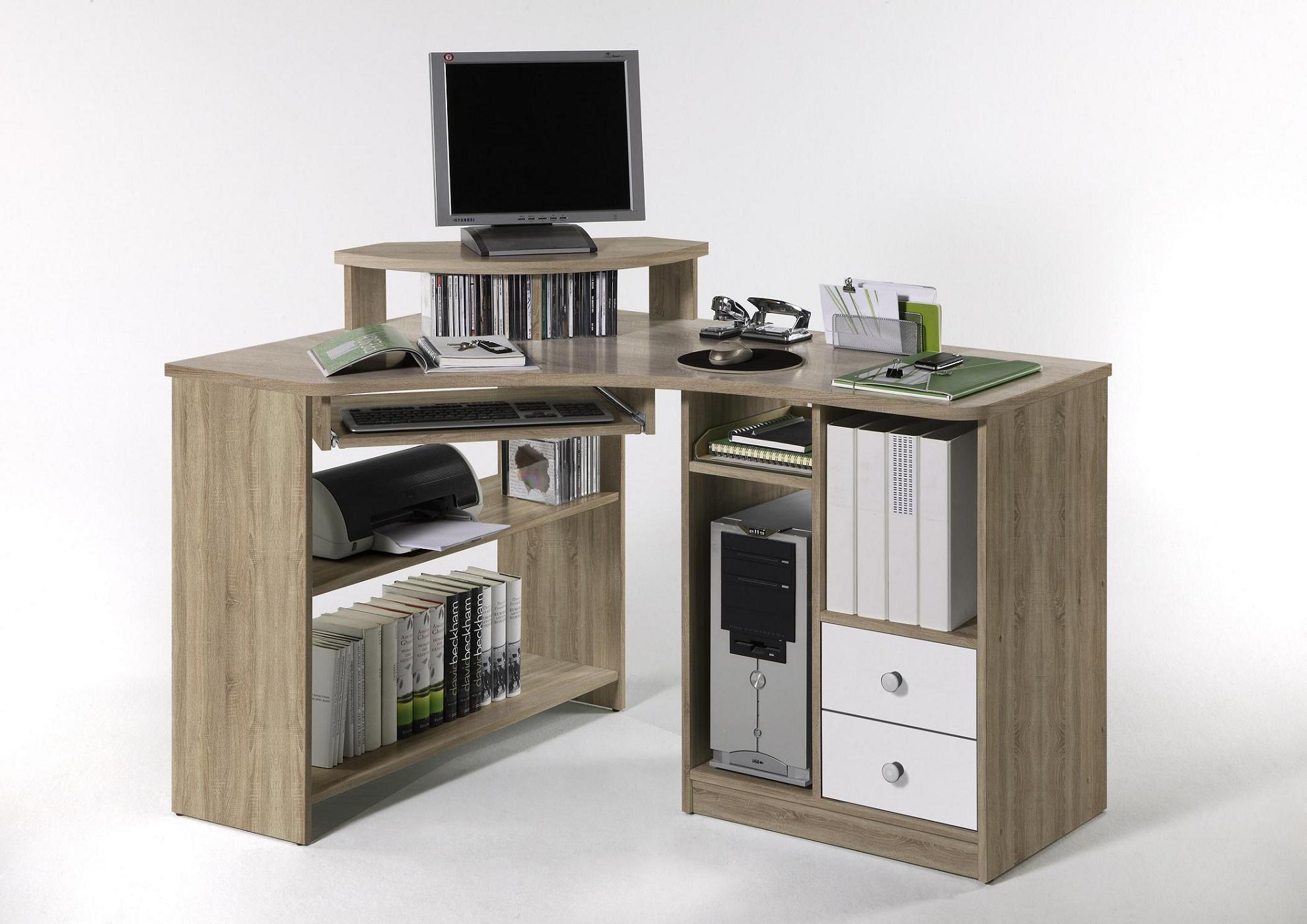 eckschreibtisch computertisch tanga von bega sonoma eiche. Black Bedroom Furniture Sets. Home Design Ideas