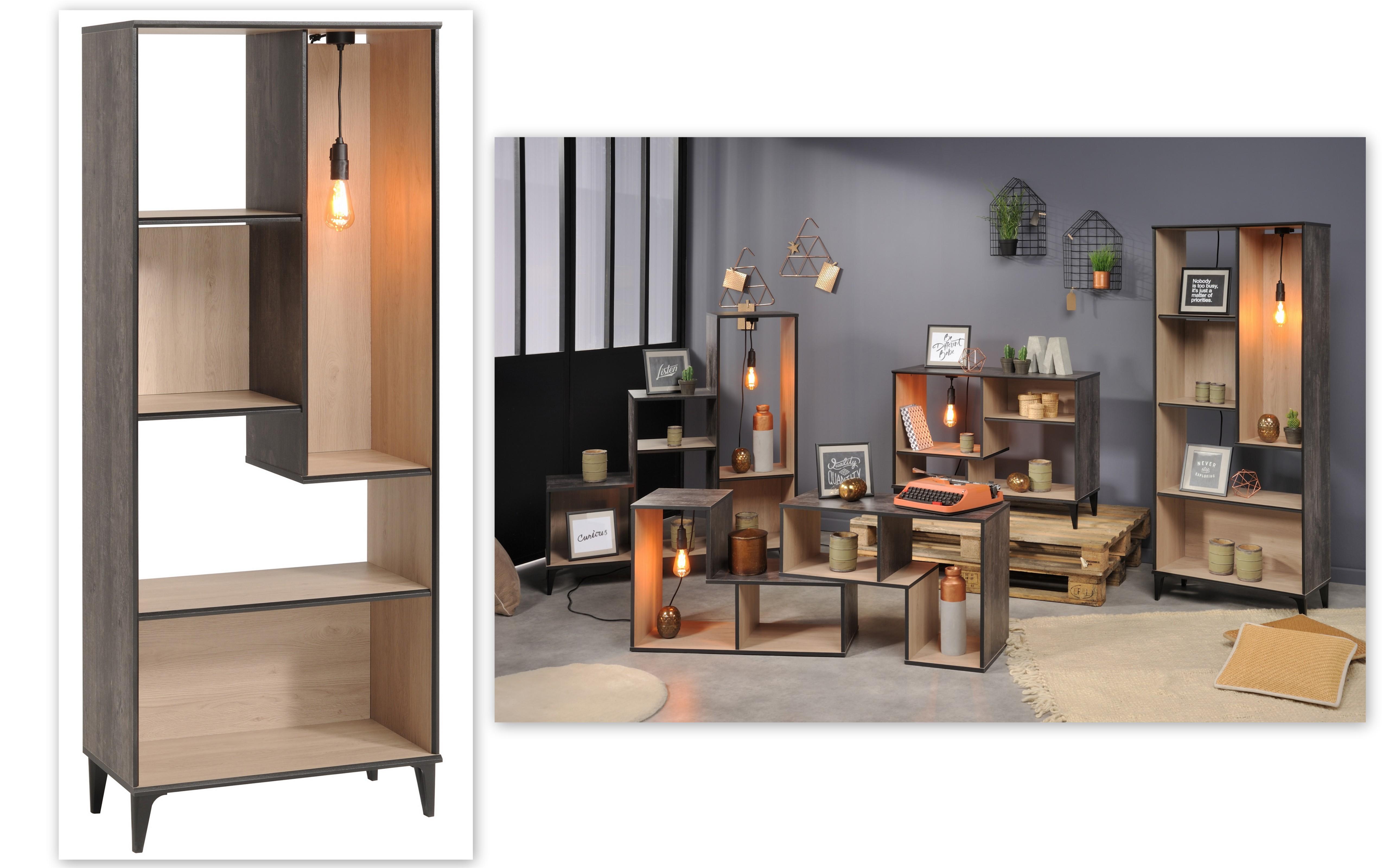 regal inkl beleuchtung im vintage look edison 5 von parisot brooklyn eiche gebrannte kiefer. Black Bedroom Furniture Sets. Home Design Ideas