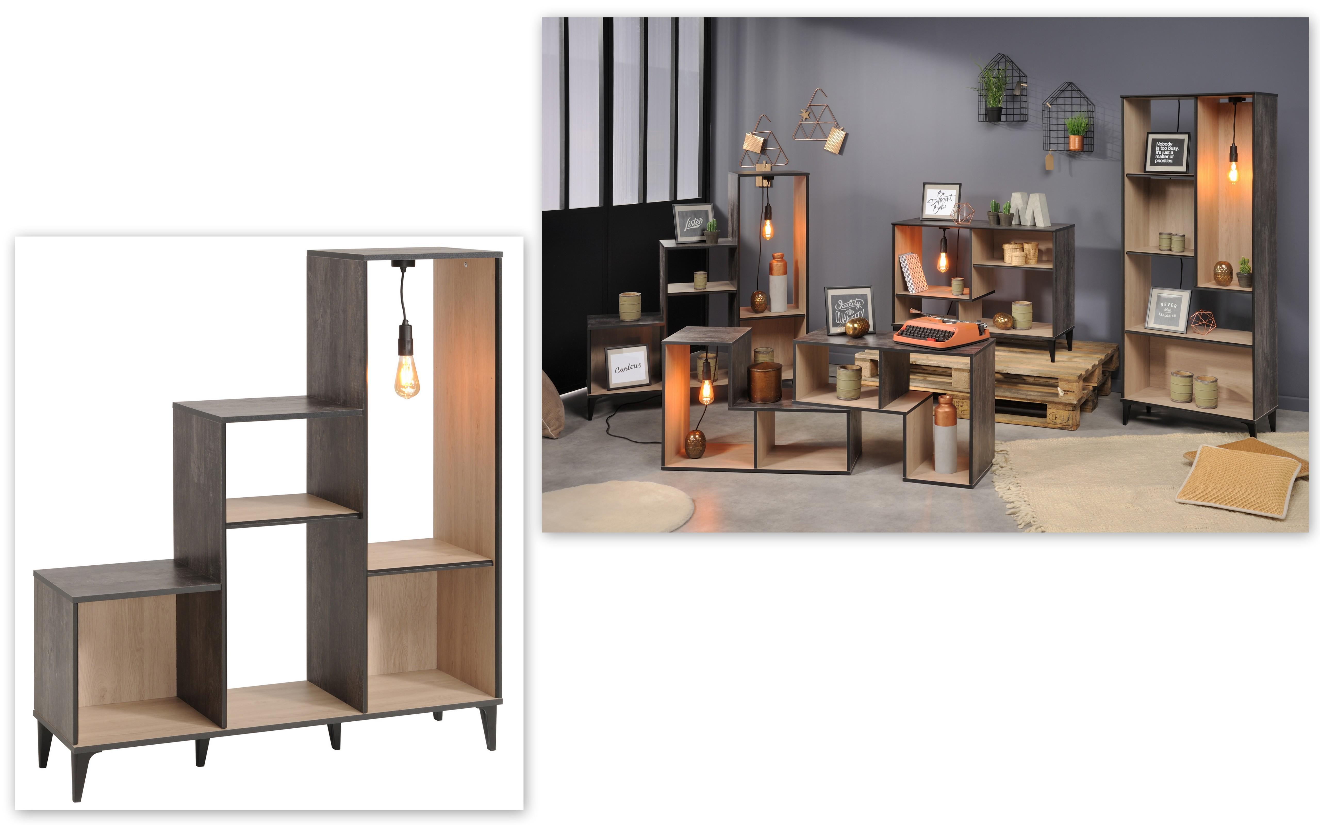 regal inkl beleuchtung im vintage look edison 6 von parisot brooklyn eiche gebrannte kiefer. Black Bedroom Furniture Sets. Home Design Ideas
