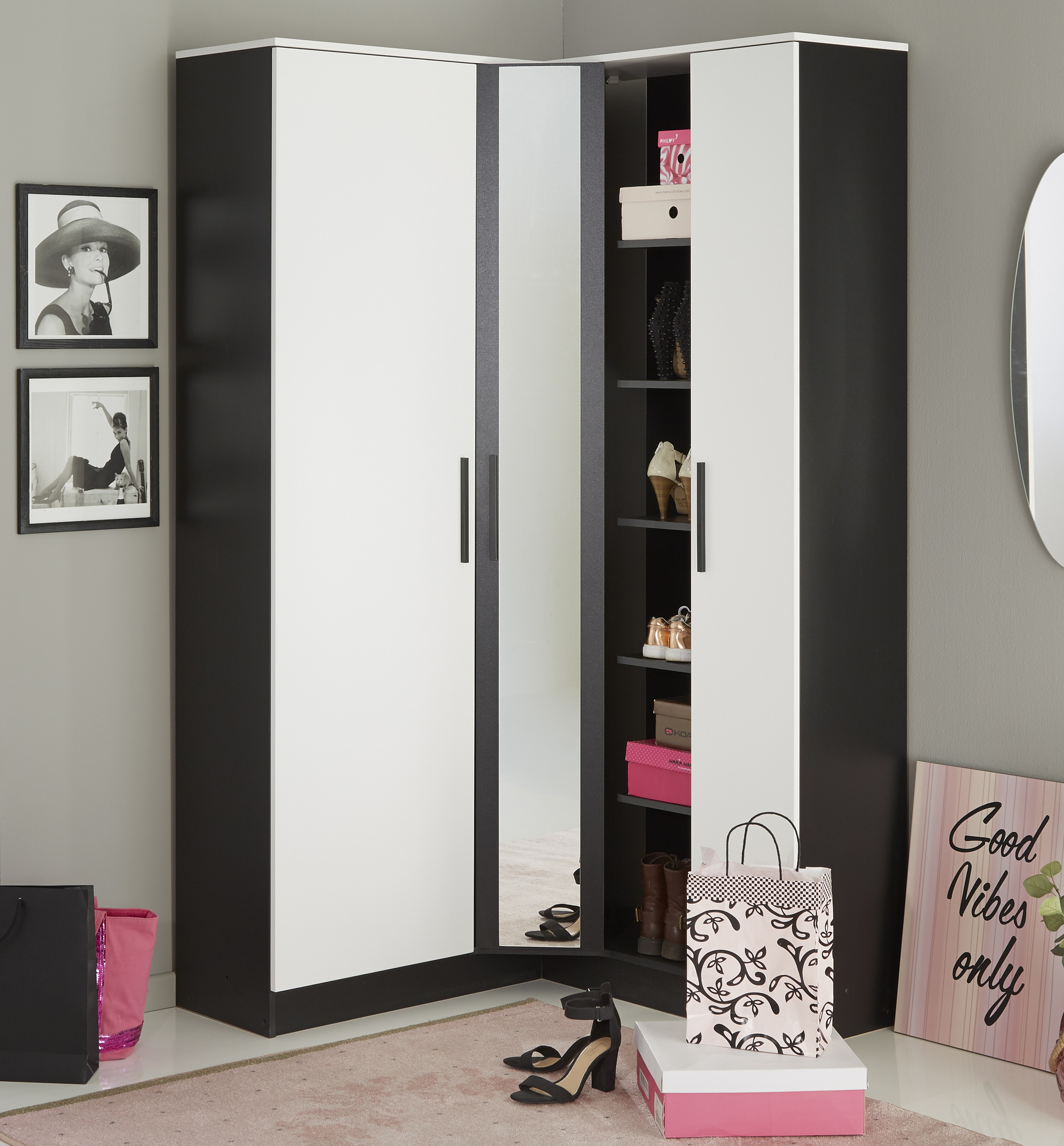 eck schuhschrank inkl spiegel u drehbarem regal escarpin von parisot schwarz weiss. Black Bedroom Furniture Sets. Home Design Ideas