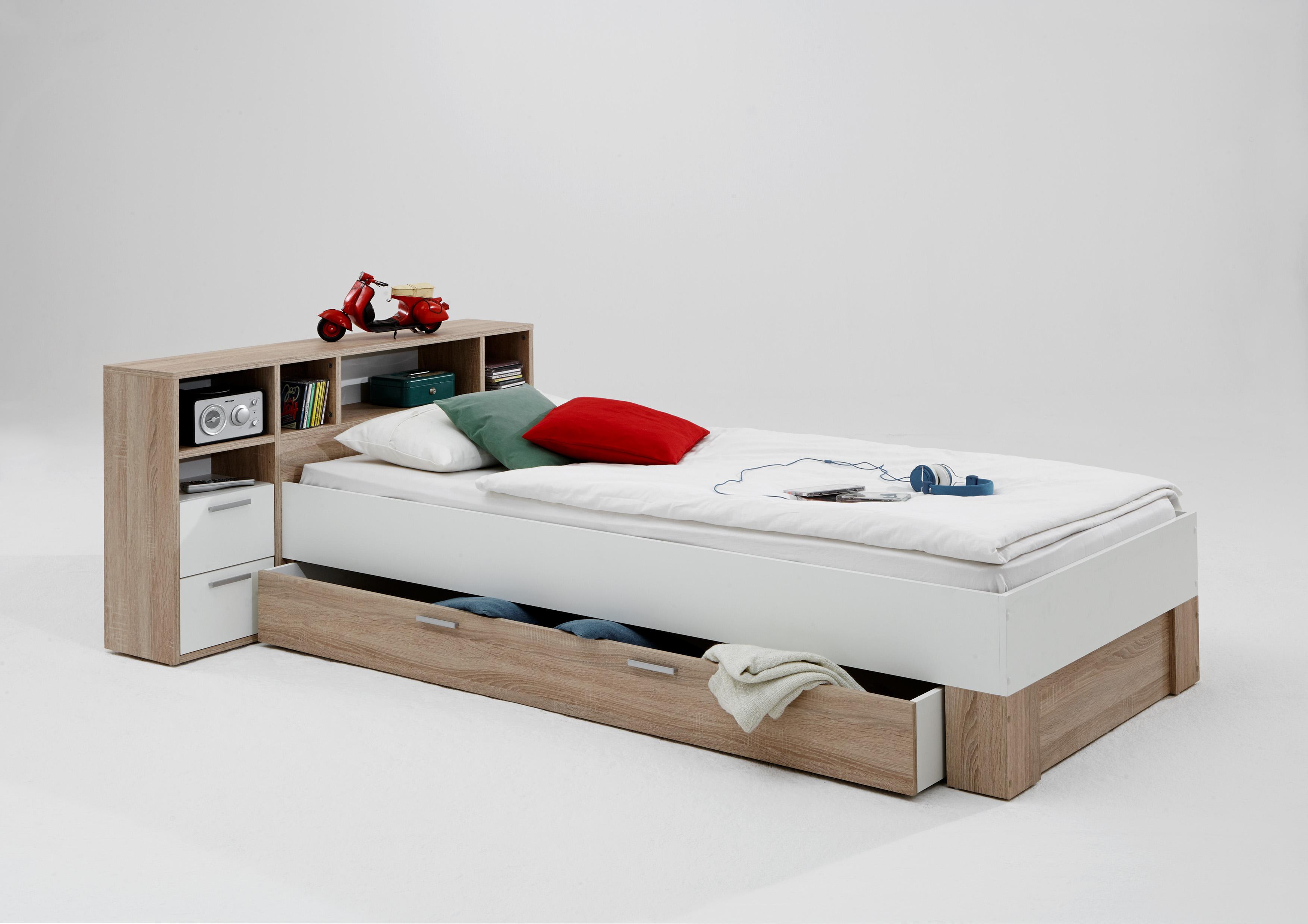 fabio 1 90x200 bettanlage mit ablagef chern von fmd eiche wei. Black Bedroom Furniture Sets. Home Design Ideas