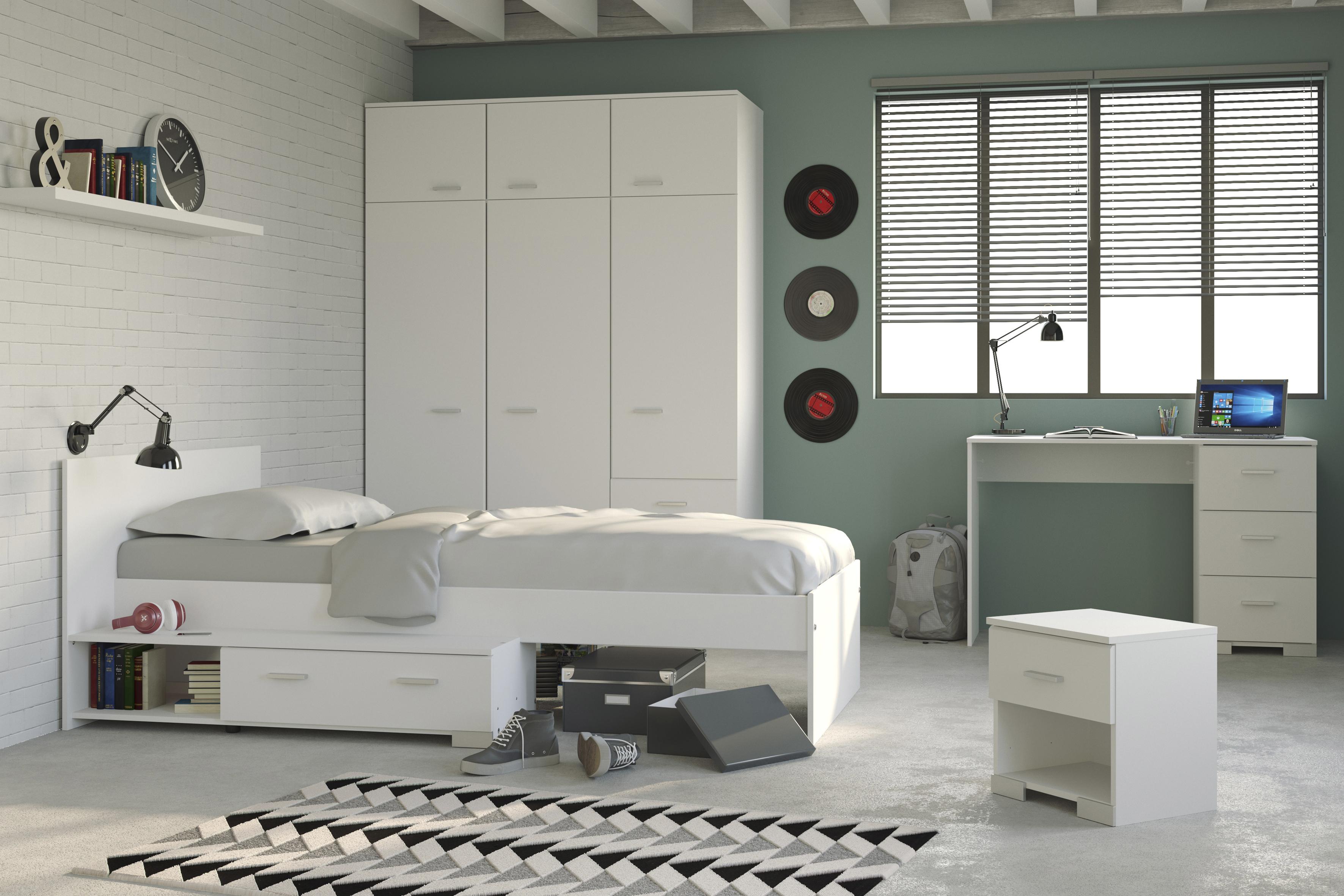 jungenzimmer 4 tlg 90x200 stauraumbett u kleiderschrank galaxy 152b von parisot weiss. Black Bedroom Furniture Sets. Home Design Ideas