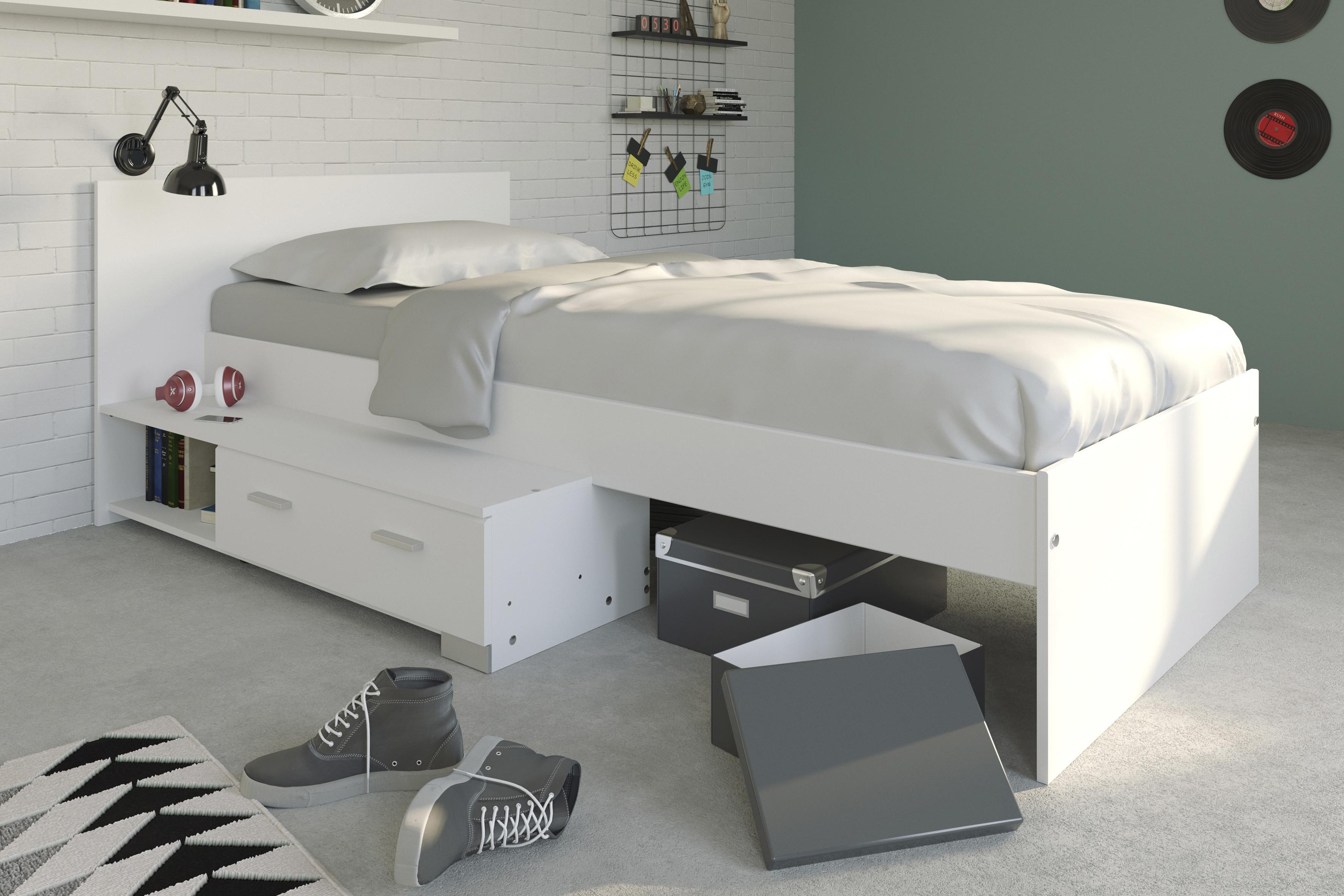 90x200 stauraumbett m dchen galaxy 156a von parisot weiss by wohnorama ebay. Black Bedroom Furniture Sets. Home Design Ideas