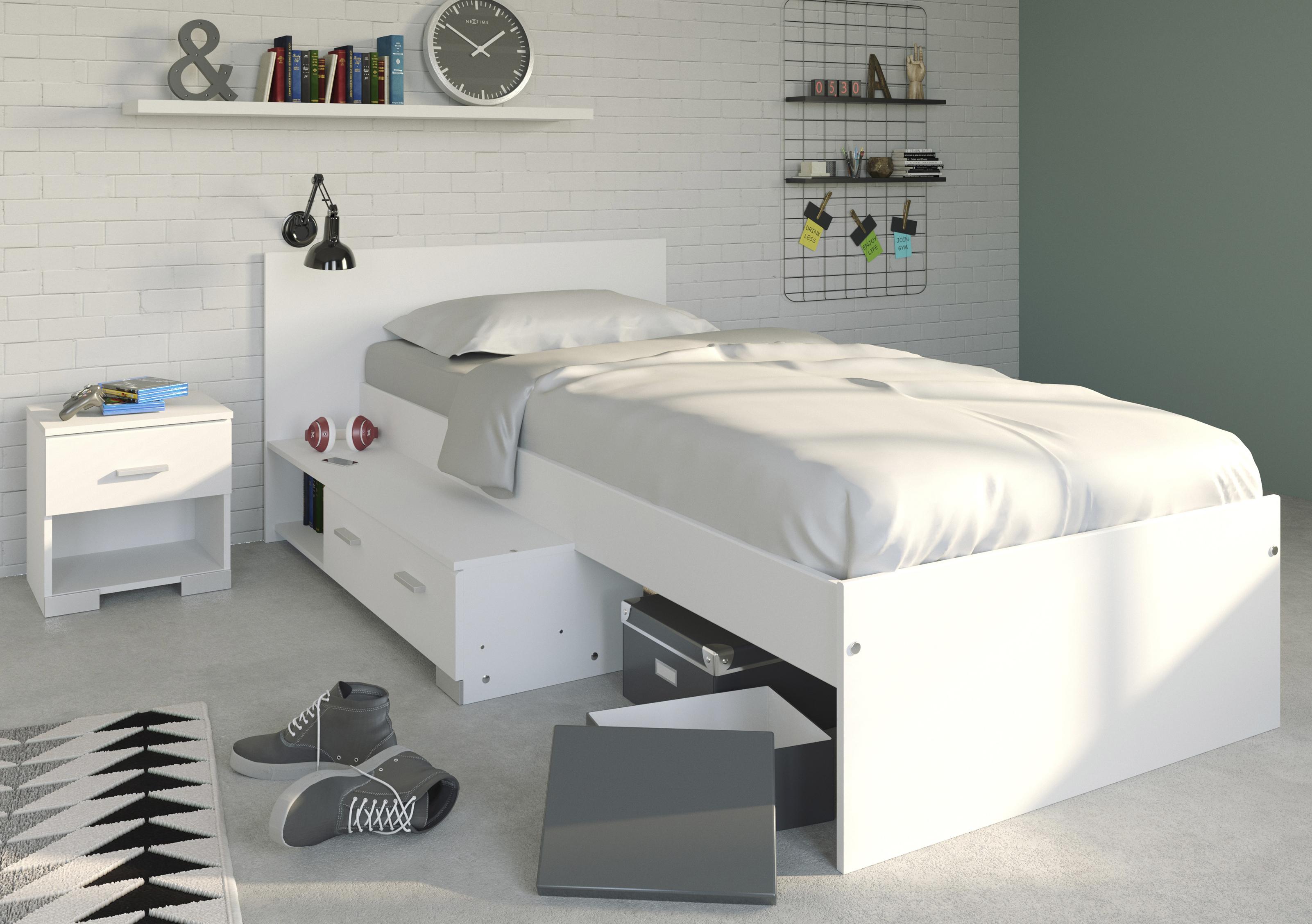 kinderzimmer 2 tlg 90x200 stauraumbett u nachtkommode galaxy 15b von parisot weiss. Black Bedroom Furniture Sets. Home Design Ideas