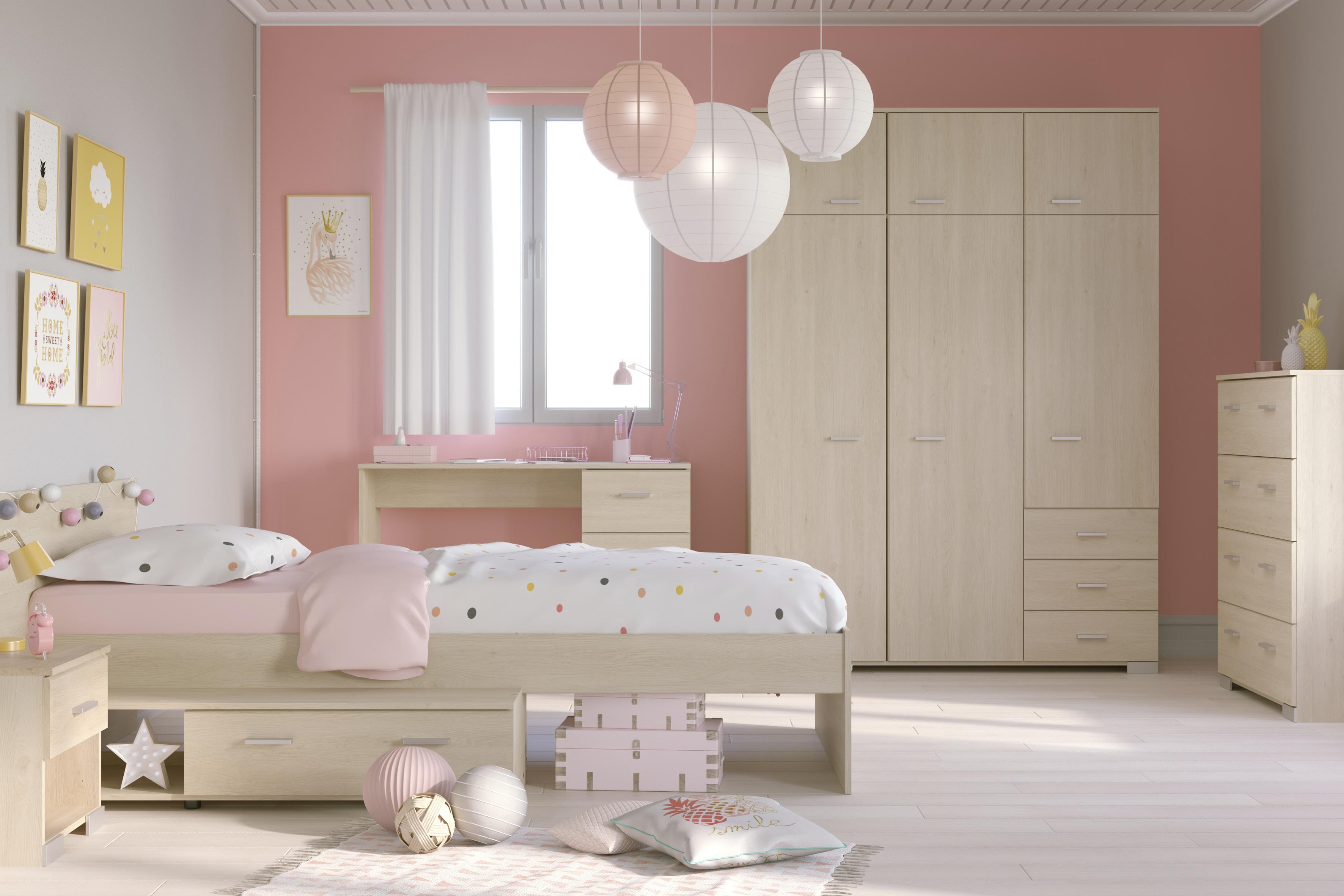 M dchenzimmer 5 tlg 90x200 stauraumbett u kleiderschrank - Babyzimmer bilder ...
