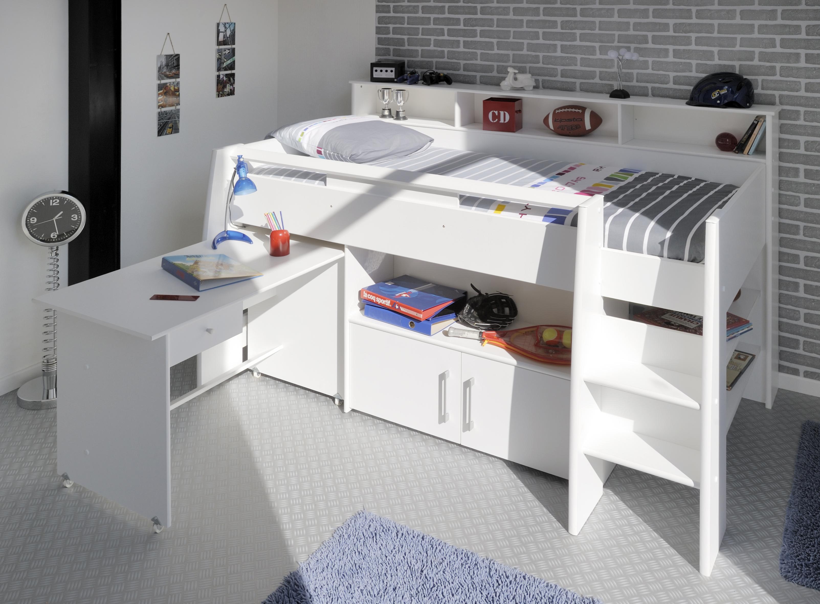 90x200 Hochbett Kombination Weiß