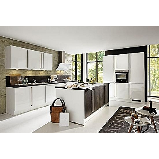inselk che weiss gl nzend ceramica inkl elektroger te ca. Black Bedroom Furniture Sets. Home Design Ideas