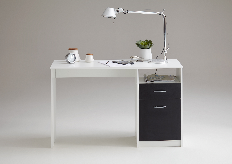 JACKSON Schreibtisch von FMD Weiß / Schwarz