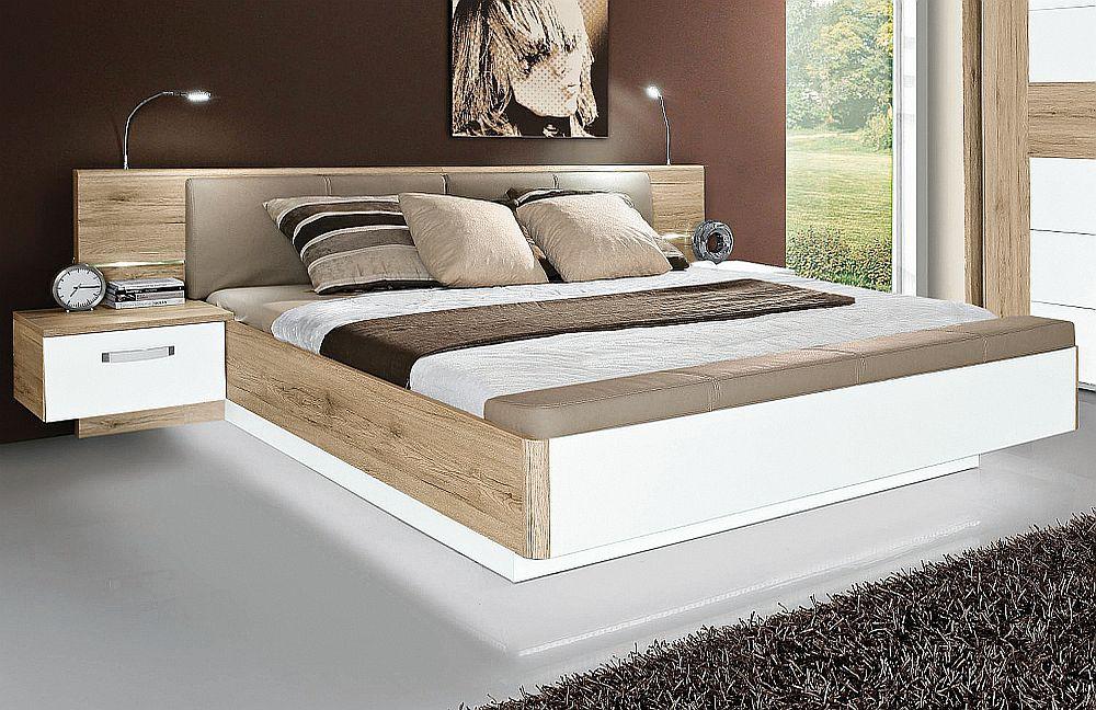 180x200 Bettanlage Rondino inkl. Glasbodenbeleuchtung und Fußbank Sandeiche/Weiß