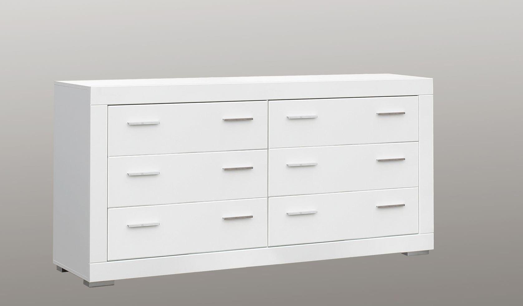 Sideboard Snow mit 6 Schubkästen Weiß