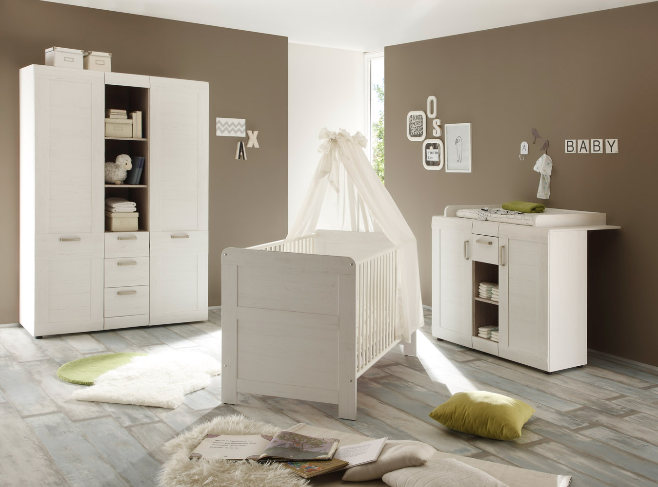 bettkasten f r kinderbett landi von trendteam pinie wei struktur. Black Bedroom Furniture Sets. Home Design Ideas
