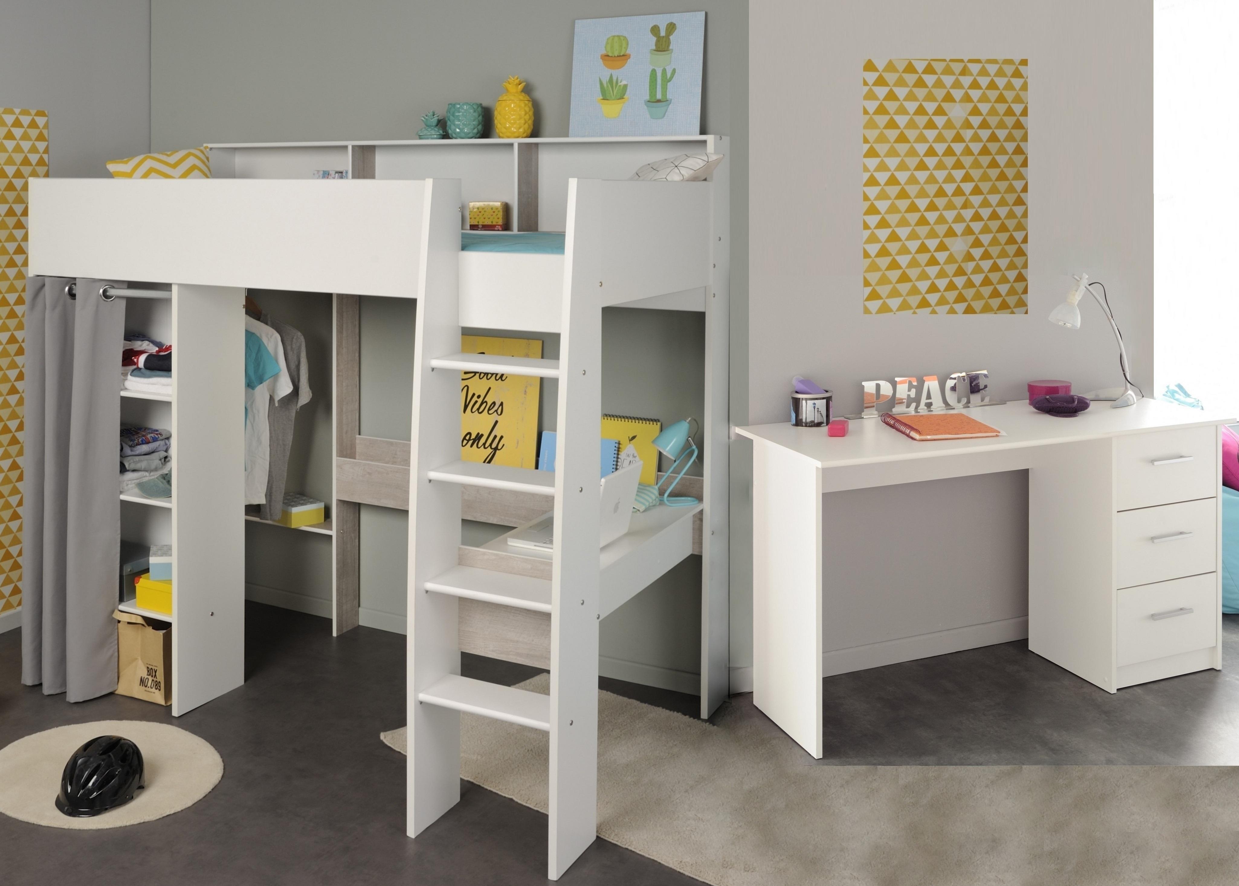 Kinderzimmer-Set 2-tlg inkl 90x200 Hochbett u Schreibtisch Taylor 14 von  Parisot Weiss / Grey Loft