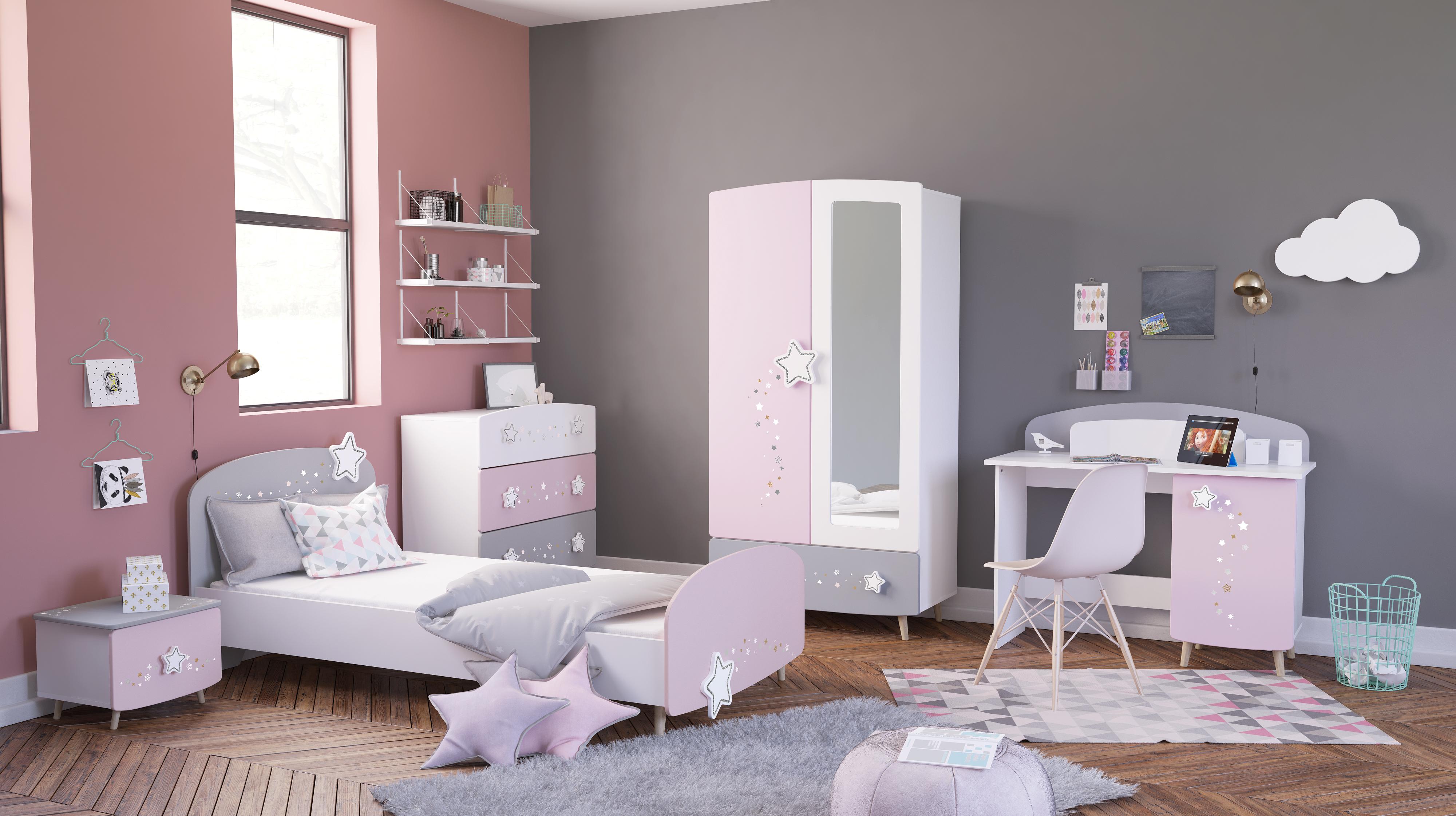 Kinderzimmer 5-tlg. STELLA von Demeyere Weiss matt / Grau / Rosa