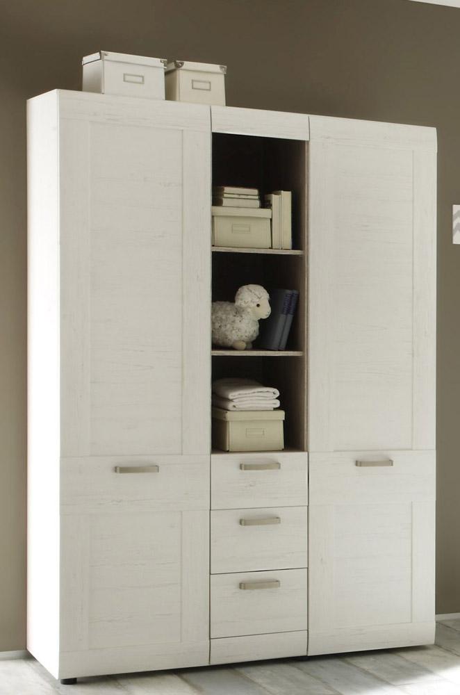 Kleiderschrank Landi von Trendteam Pinie Weiß Struktur