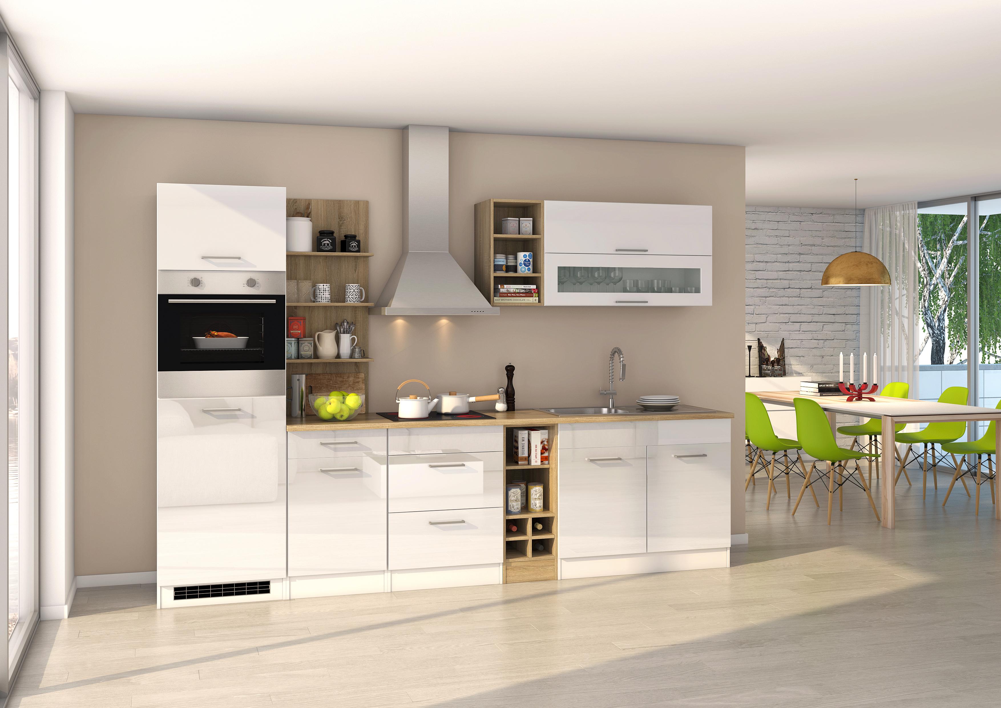 Küchenblock 300 inkl E-Geräte von PKM Kaminhaube autark (4 tlg) MAILAND von  Held Möbel Weiss / Eiche Sonoma