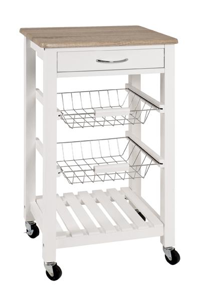 Küchenwagen 40329 von HAKU Weiss / Eiche hell